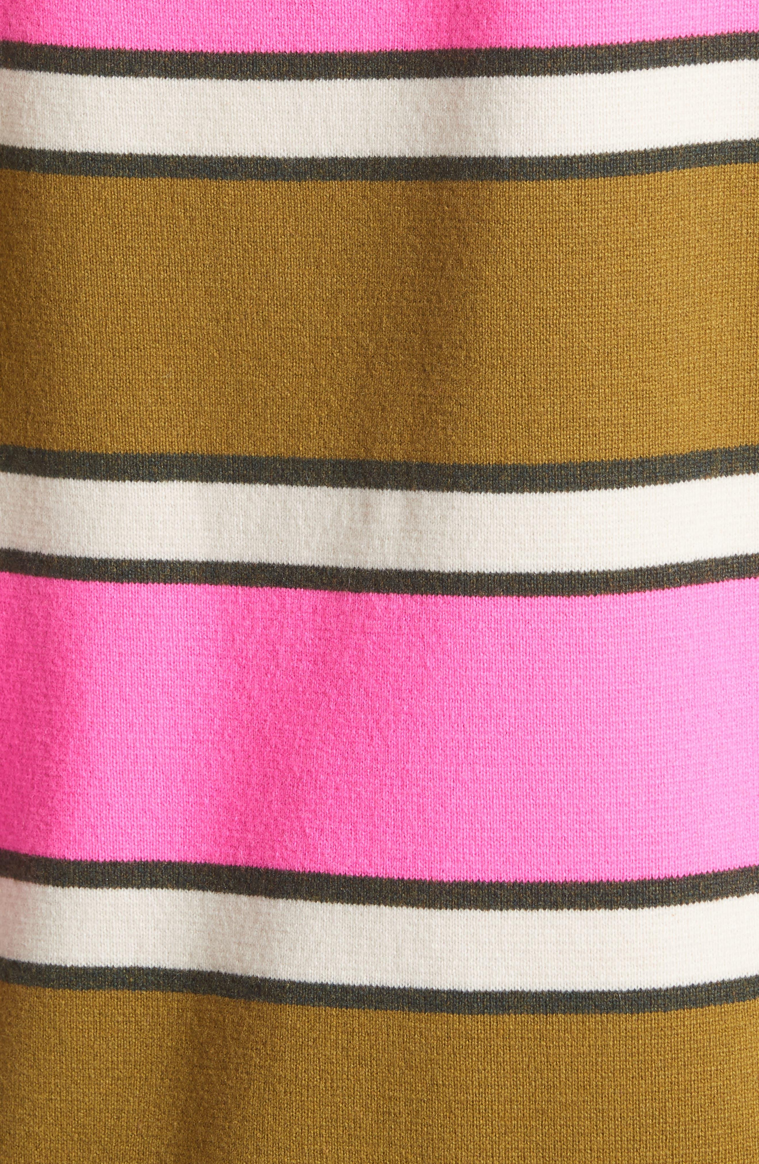 Oversize Stripe Cashmere Sweater,                             Alternate thumbnail 6, color,                             Pink Multi
