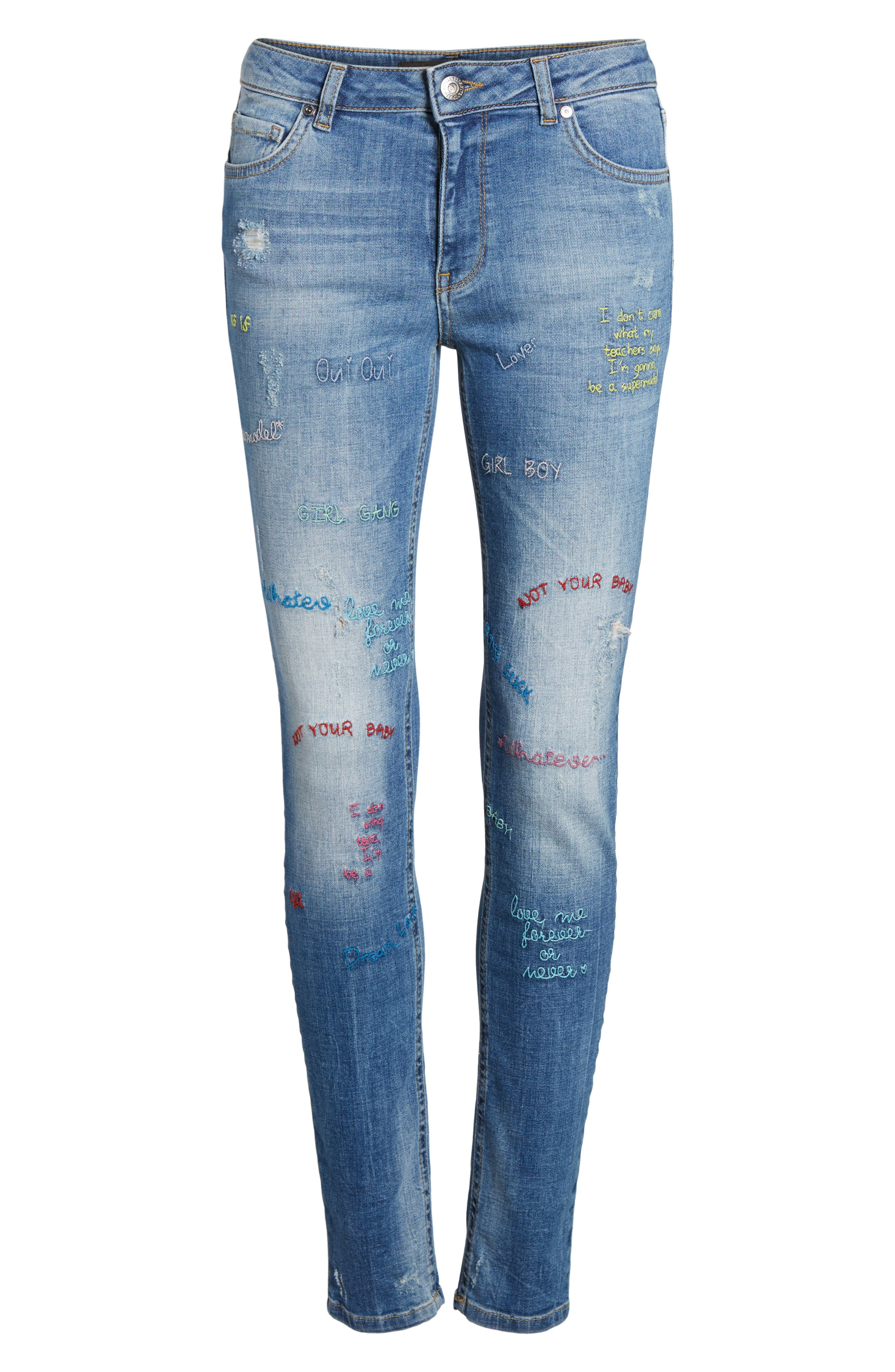 Paradise High Waist Skinny Jeans,                             Alternate thumbnail 7, color,                             Mid Blue
