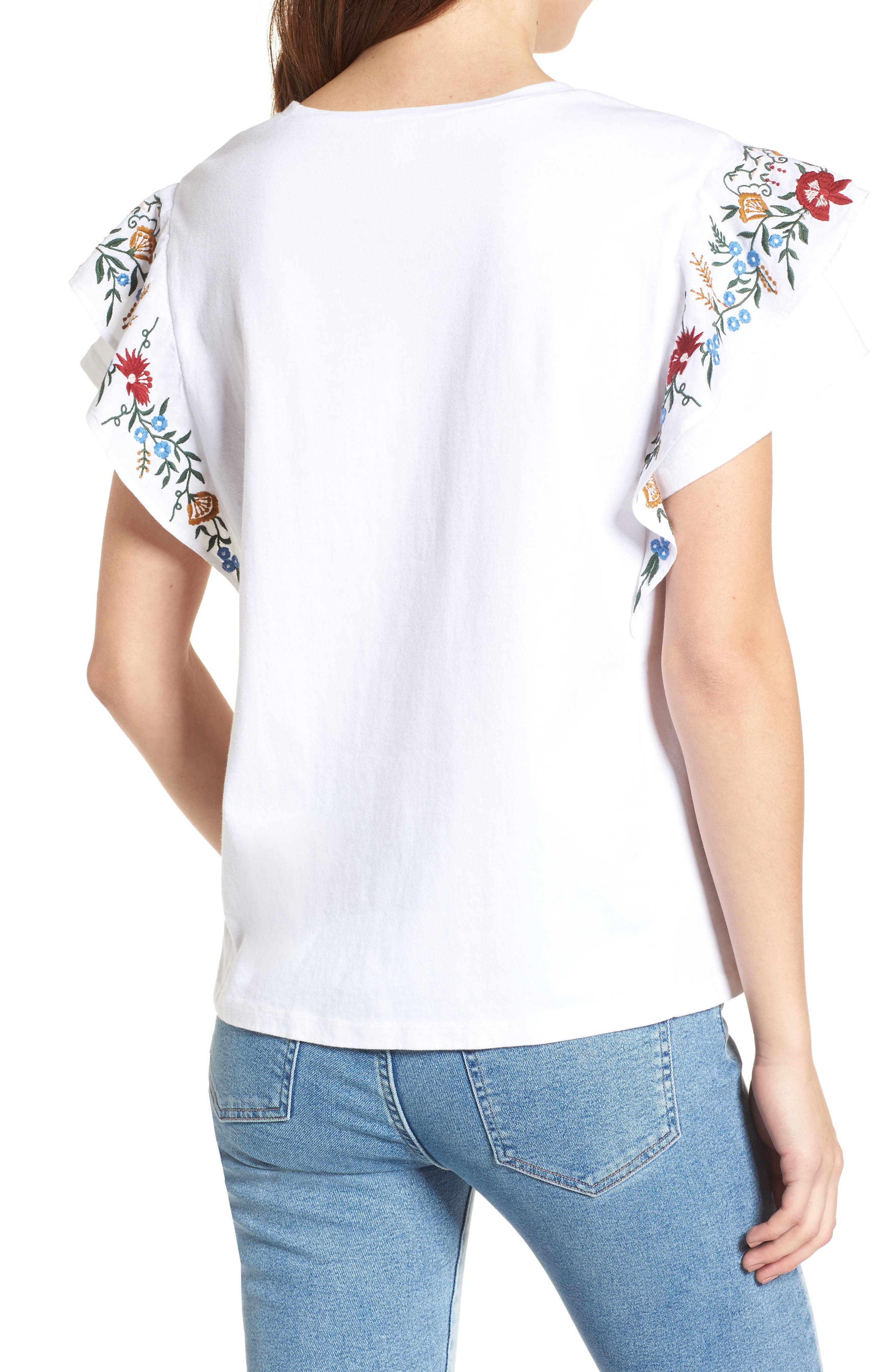 Embroidered Cotton Tee,                             Alternate thumbnail 2, color,                             White