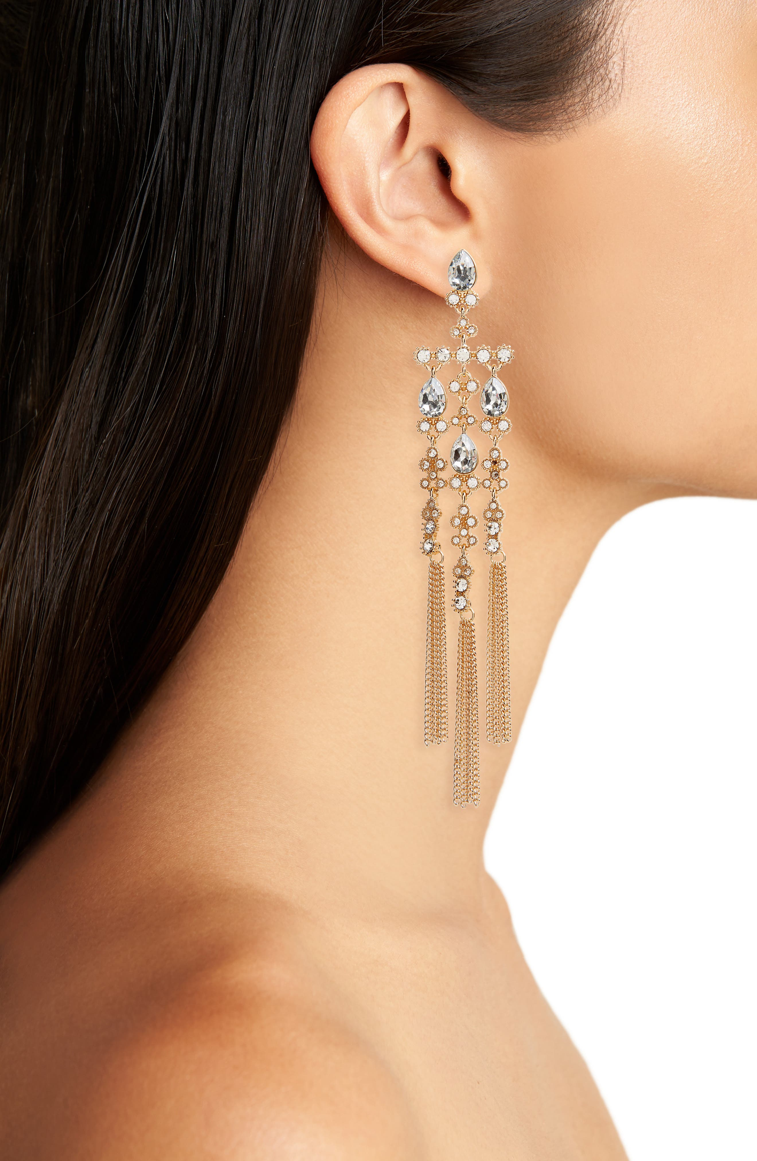 Crystal Chandelier Drop Earrings,                             Alternate thumbnail 2, color,                             Gold/ Crystal/ Blue