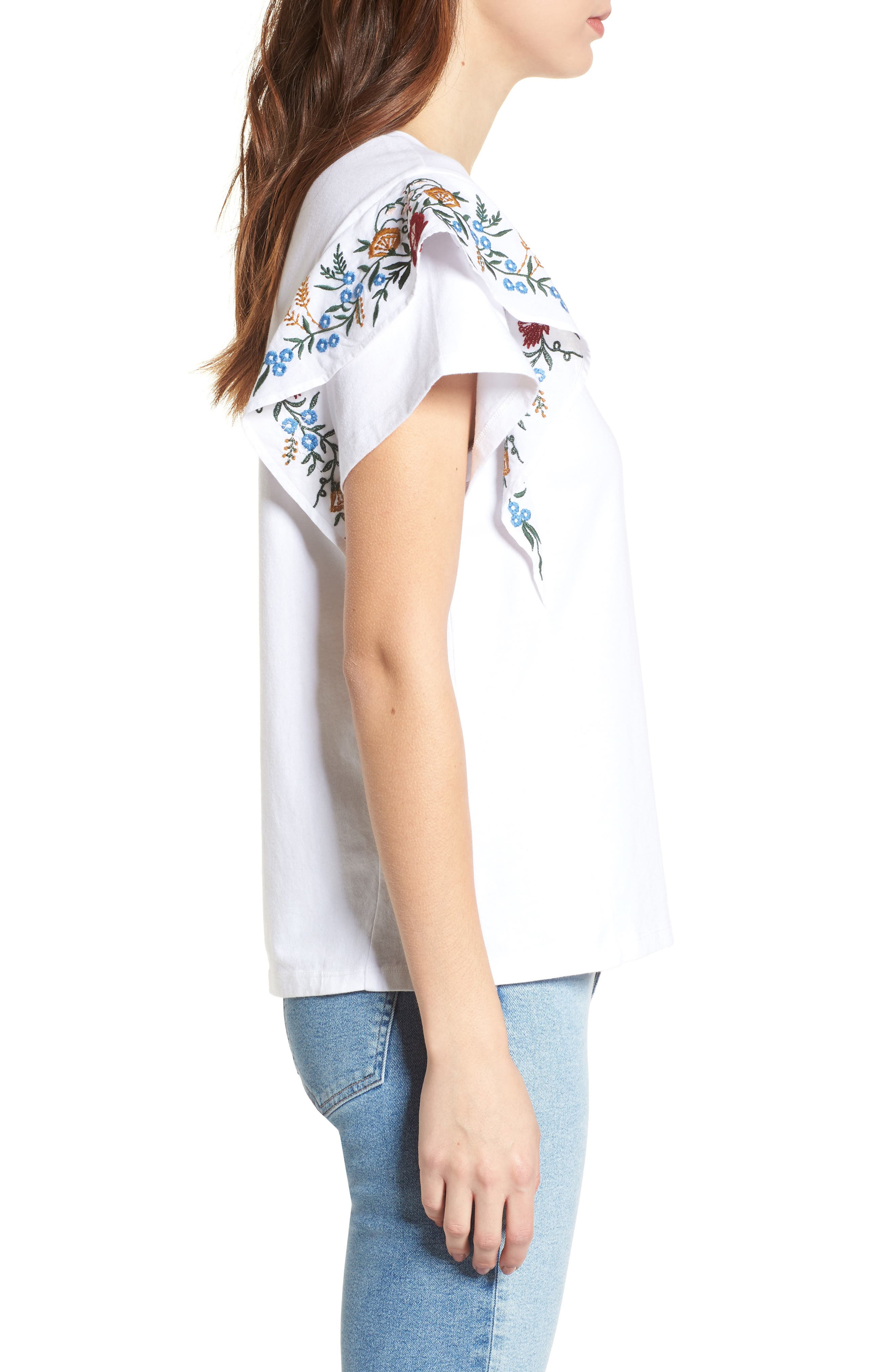 Embroidered Cotton Tee,                             Alternate thumbnail 3, color,                             White