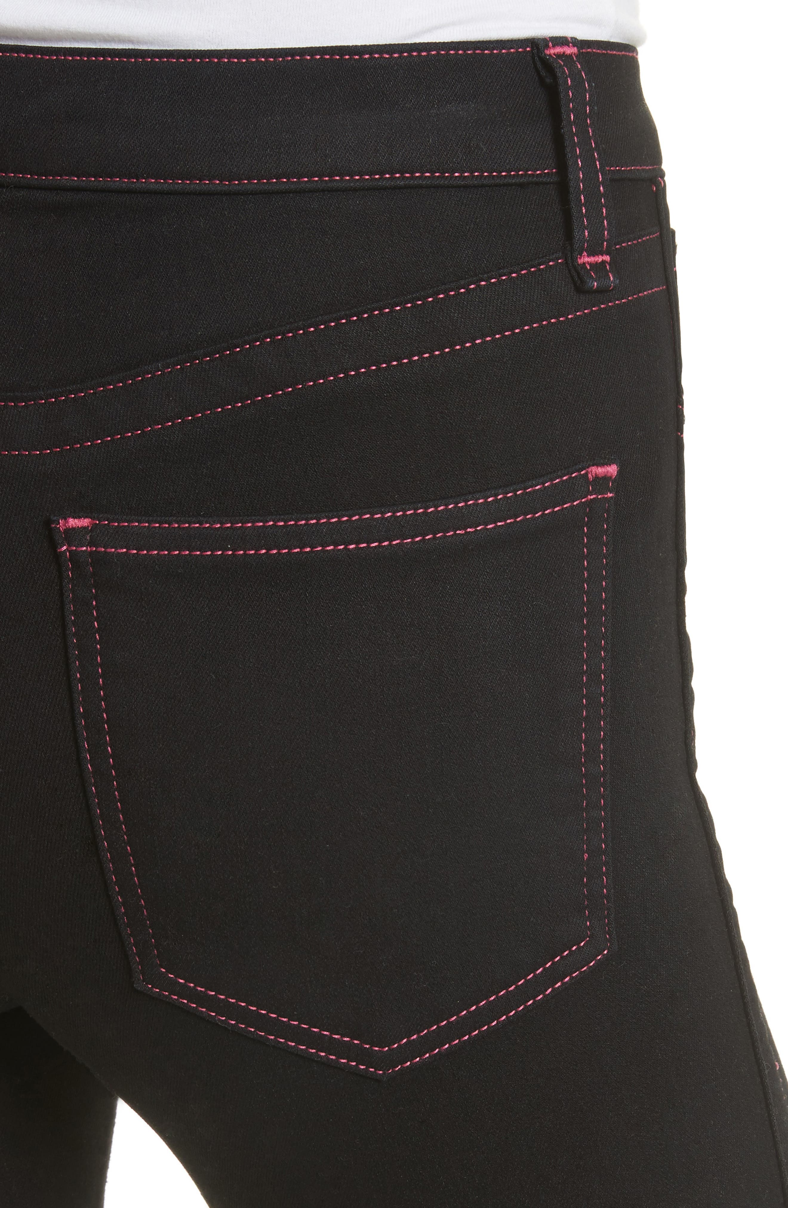 Miich High Rise Crop Skinny Jeans,                             Alternate thumbnail 4, color,                             Black Stitch