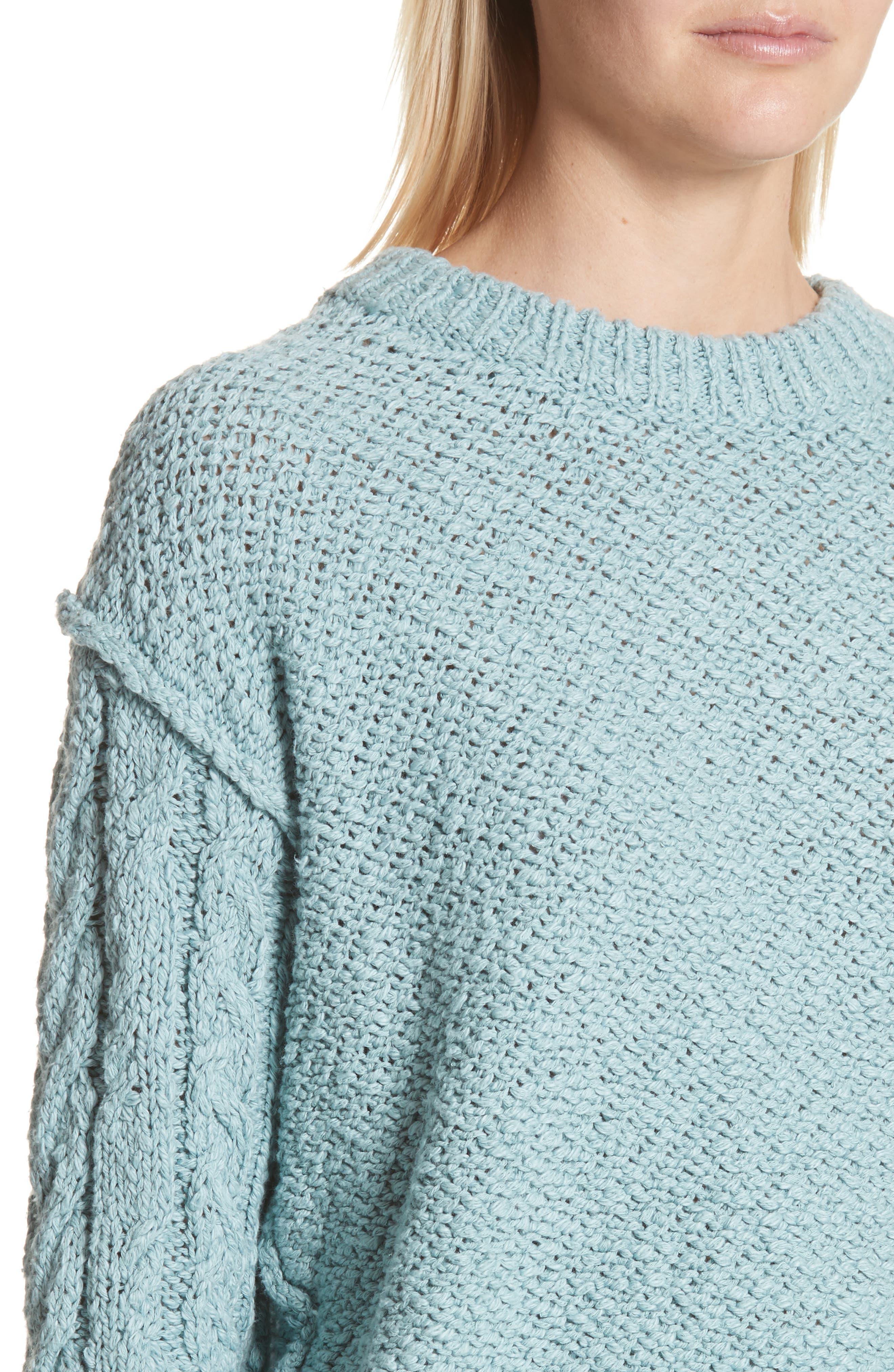 Hila Cable Sleeve Sweater,                             Alternate thumbnail 4, color,                             Blue