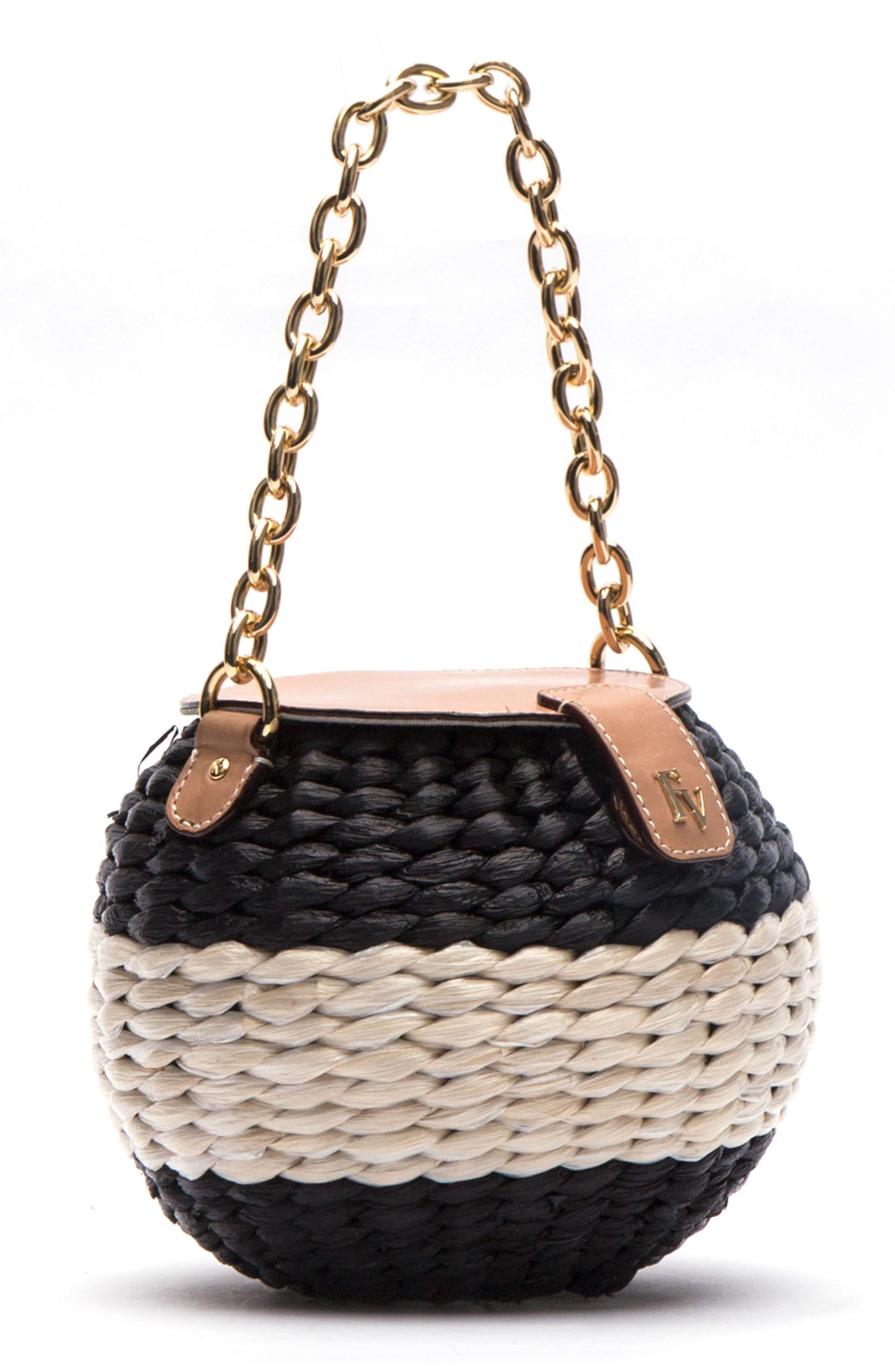 Mini Woven Bucket Bag,                             Alternate thumbnail 2, color,                             Black/ White