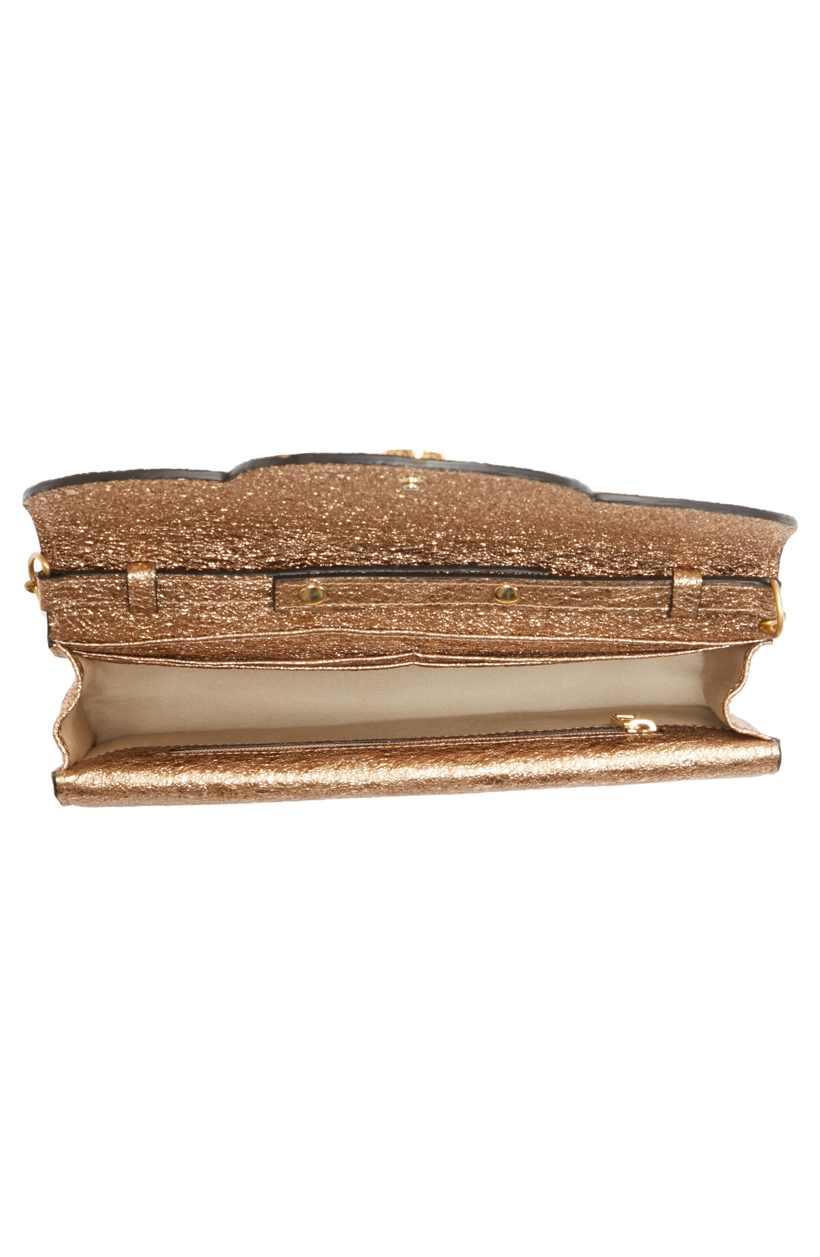 Polina Metallic Leather Crossbody Clutch,                             Alternate thumbnail 4, color,                             Sandy Brown