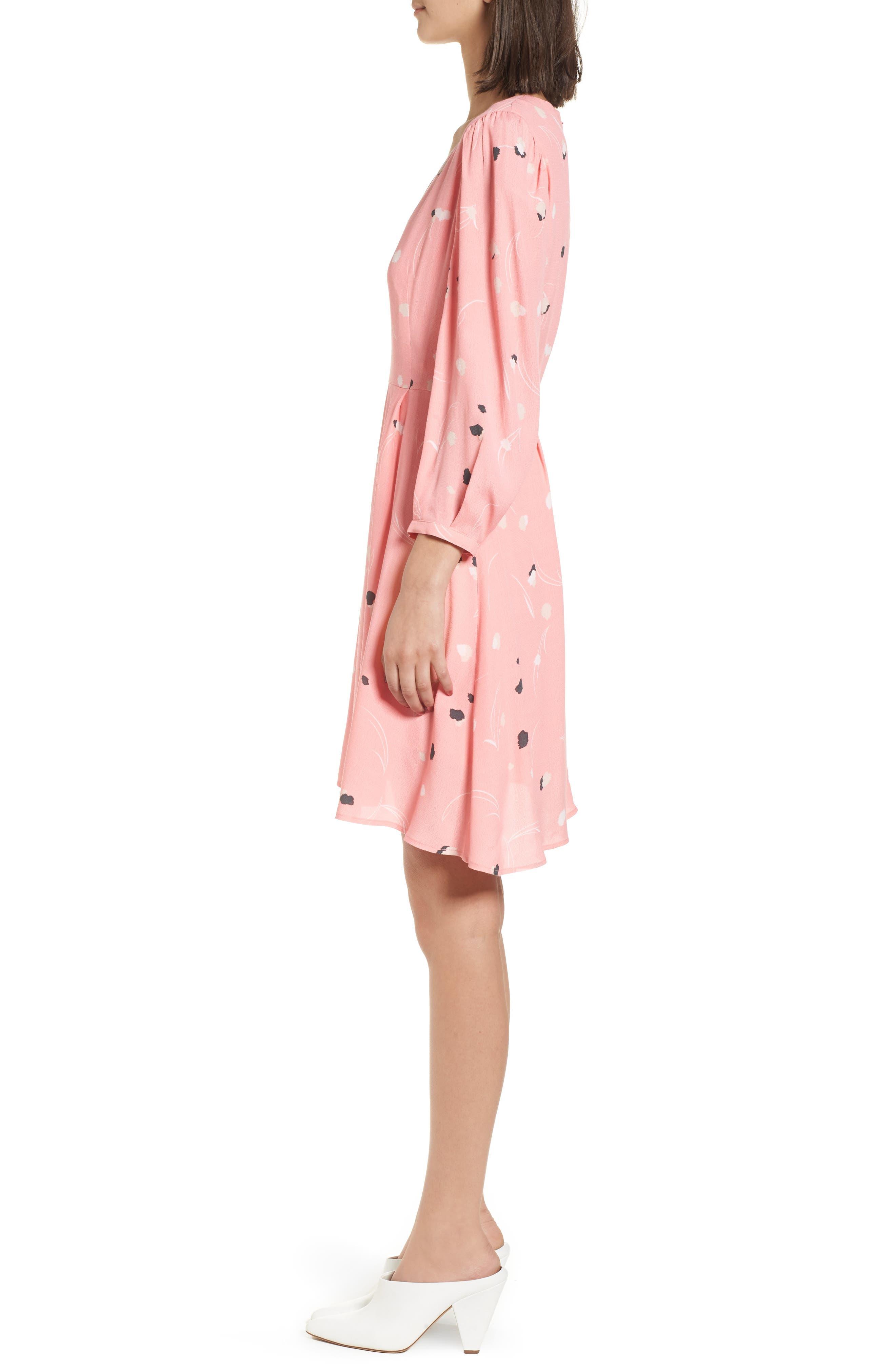 V-Neck Puff Sleeve Dress,                             Alternate thumbnail 3, color,                             Pink Flamingo Mini Pops