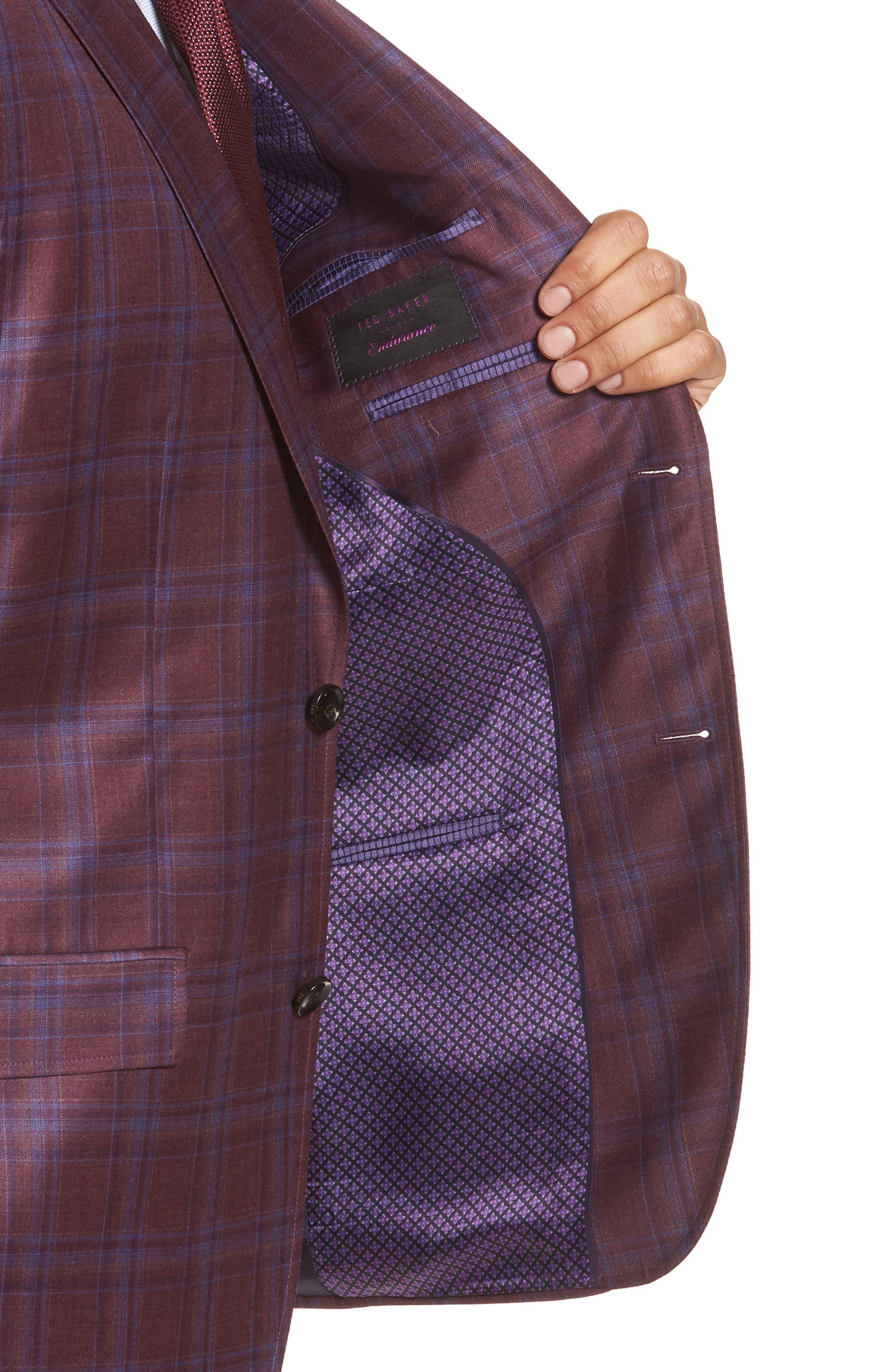 Jay Trim Fit Plaid Wool Sport Coat,                             Alternate thumbnail 4, color,                             Red