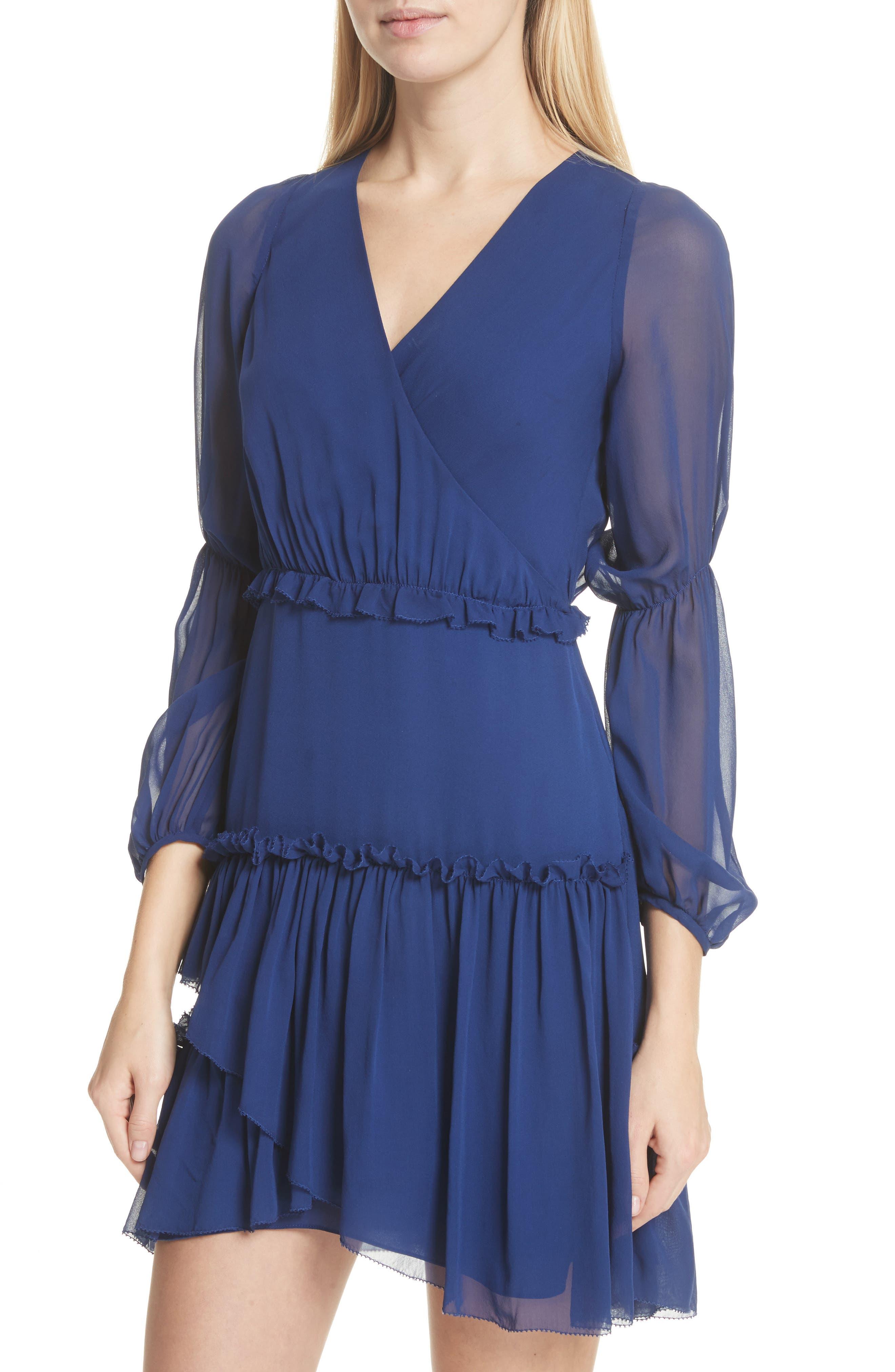 Gathered Silk Dress,                             Alternate thumbnail 4, color,                             Dark Cobalt
