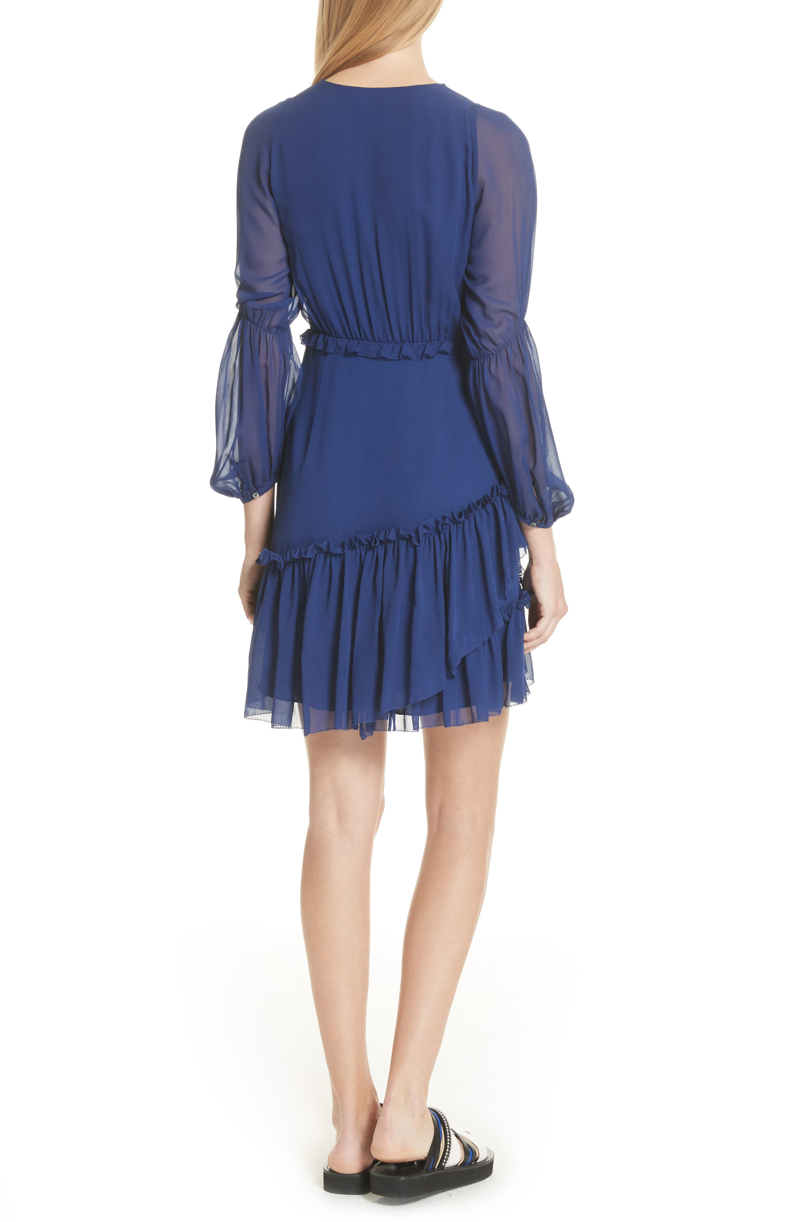 Gathered Silk Dress,                             Alternate thumbnail 2, color,                             Dark Cobalt