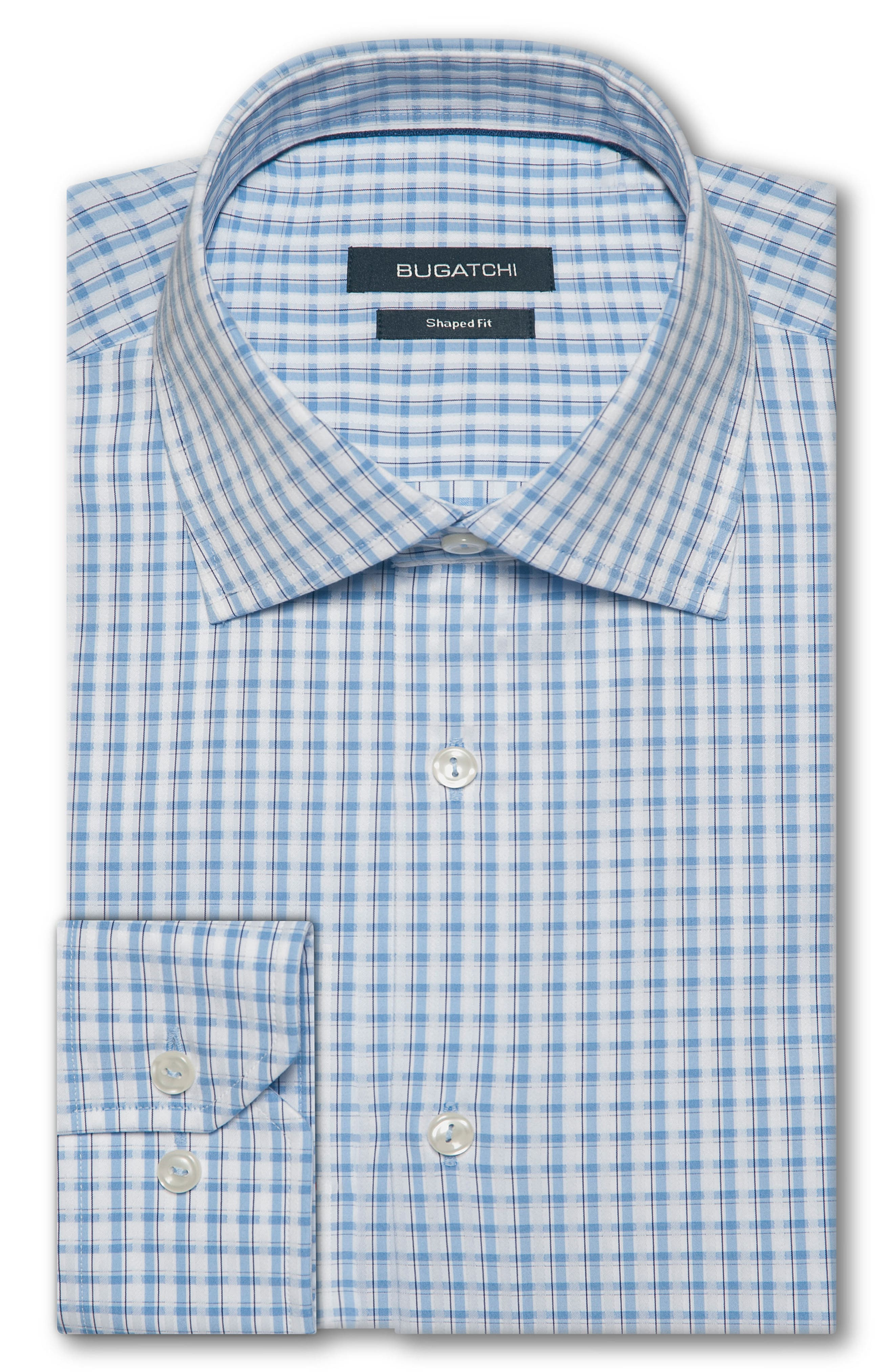 Trim Fit Check Dress Shirt,                         Main,                         color, Sky