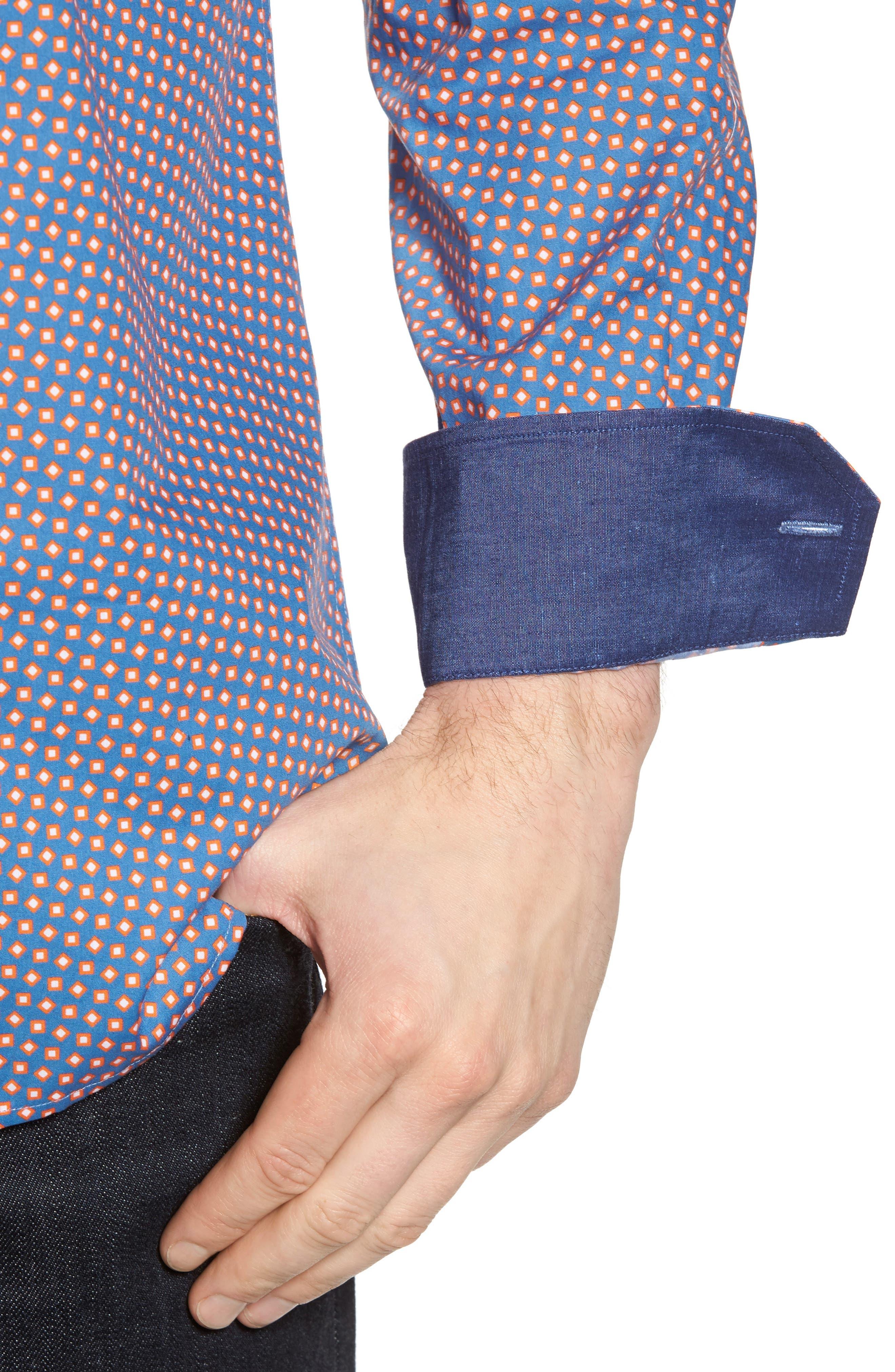Alternate Image 4  - Bugatchi Slim Fit Print Sport Shirt