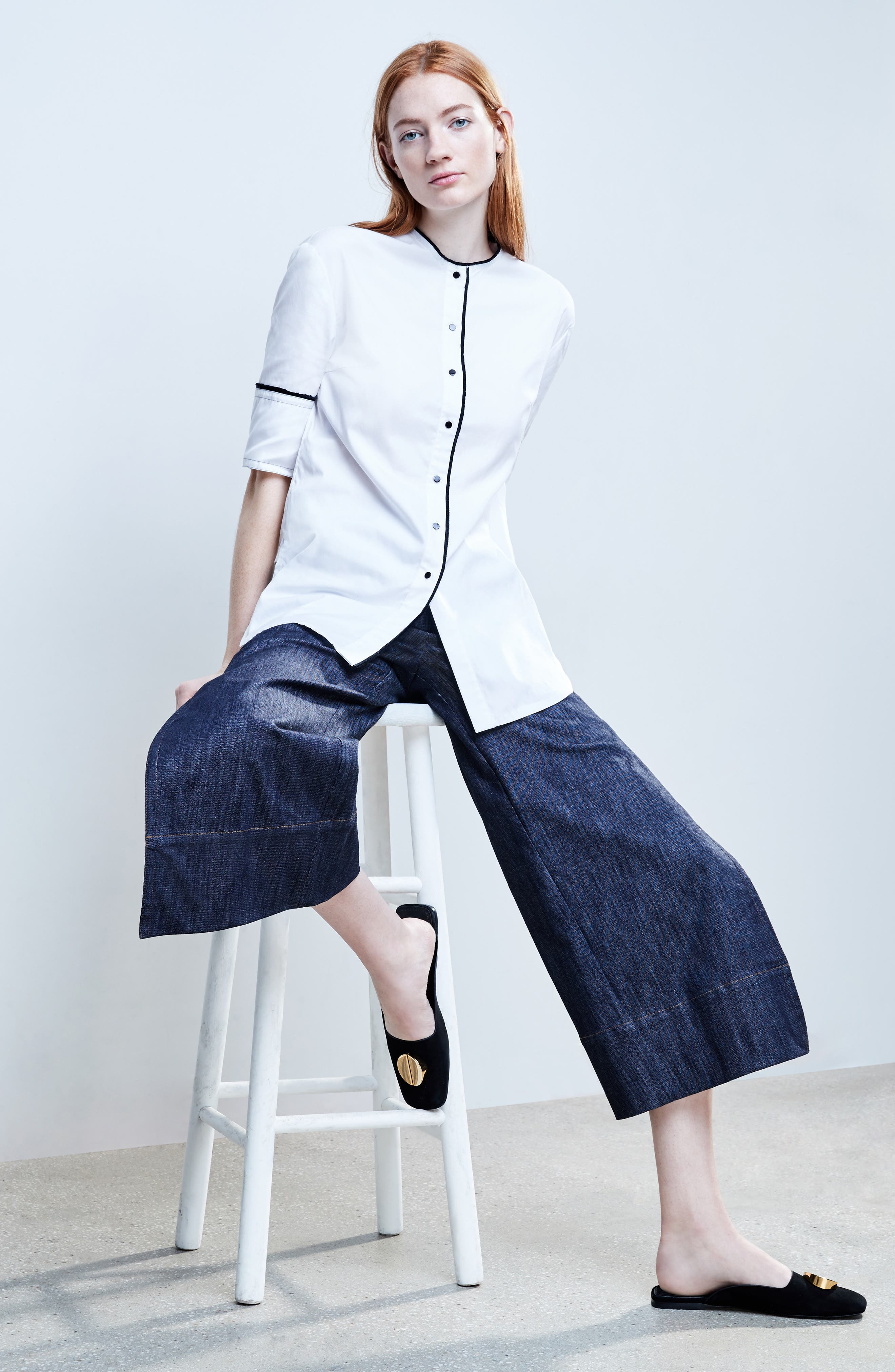 Alternate Image 2  - Yigal Azrouël Panel Front Wide Leg Crop Jeans