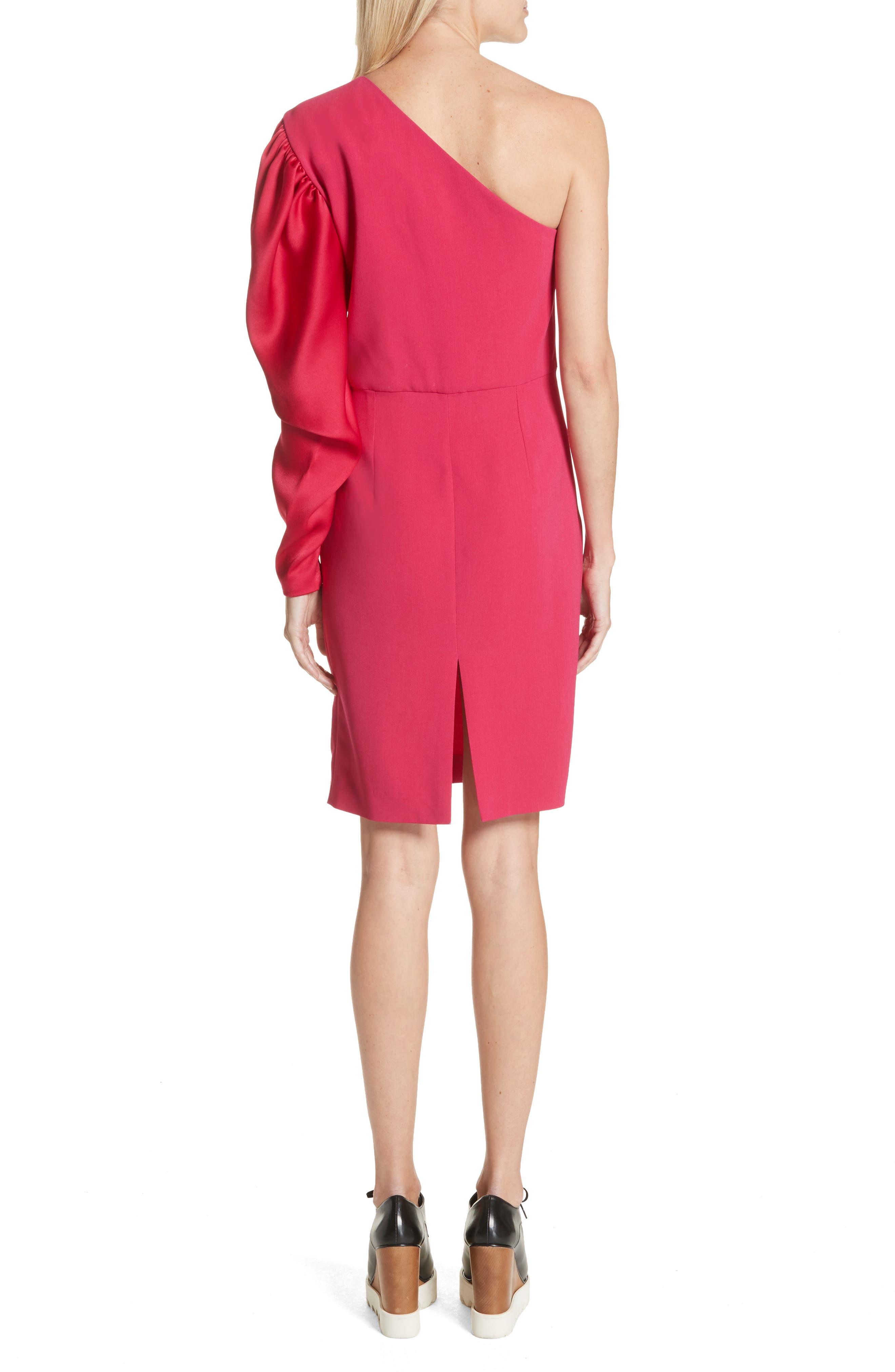 One-Shoulder Puff Sleeve Cady Dress,                             Alternate thumbnail 2, color,                             Bubble Gum
