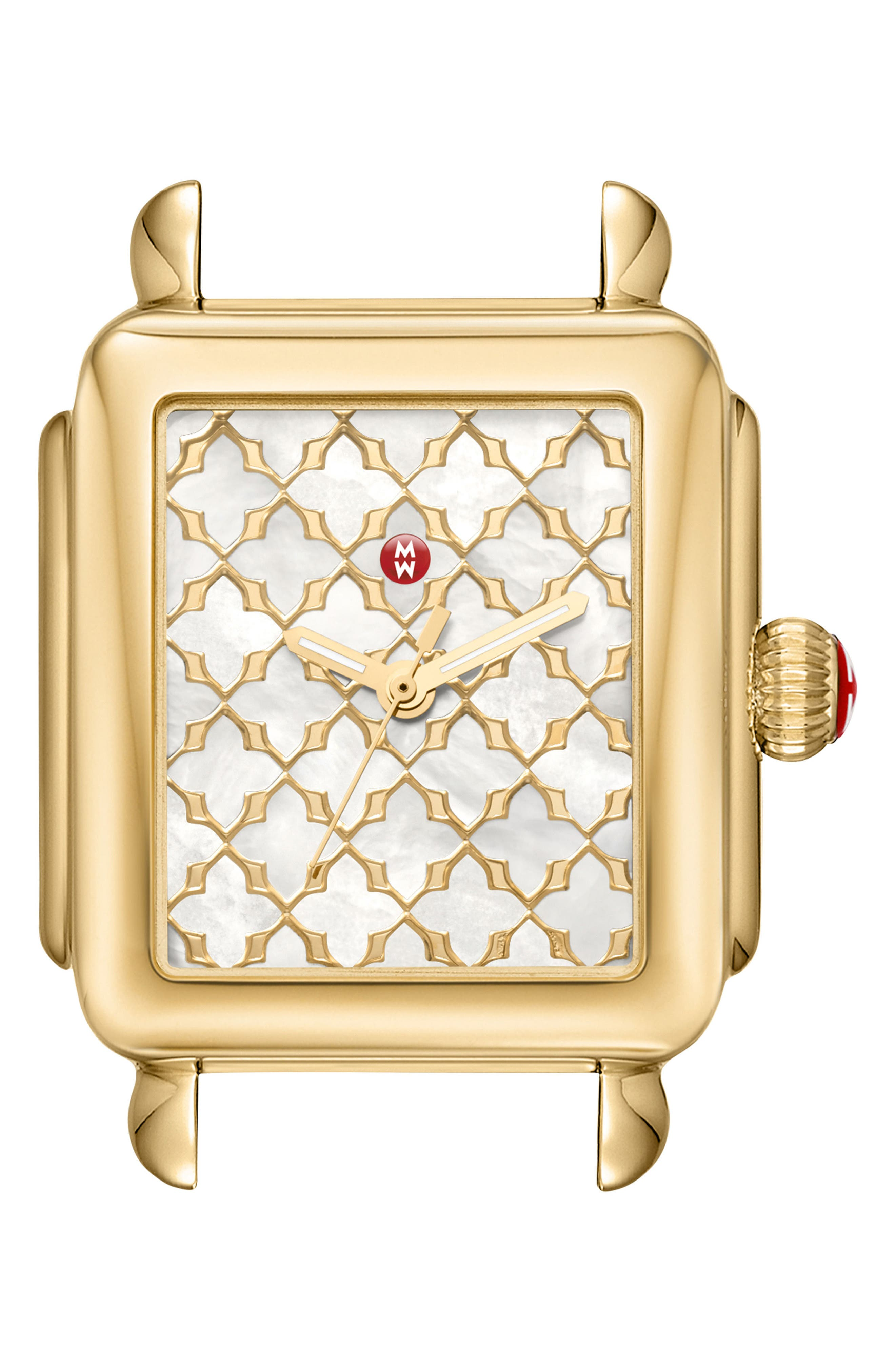 MICHELE Deco Mosaic Square Watch Head, 33Mm X 35Mm in Gold/ Mop