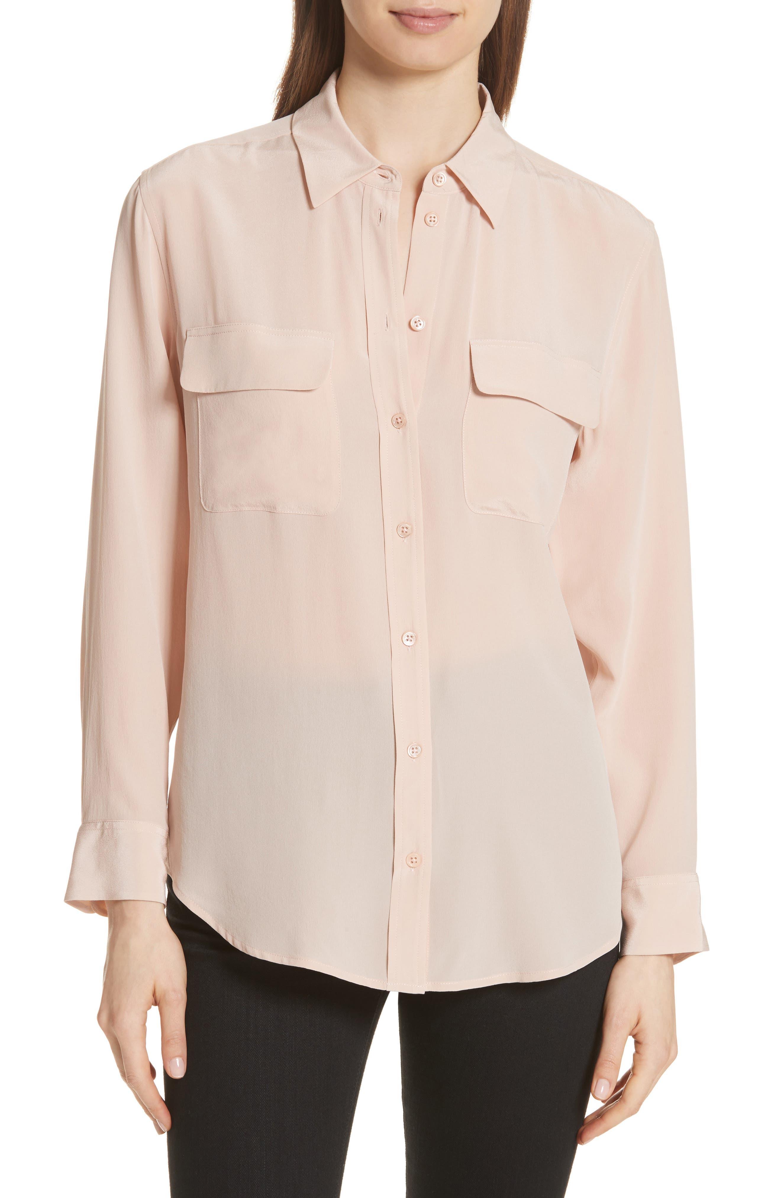 Equipment slim signature long sleeve top pink in for Long sleeve silk shirt dress