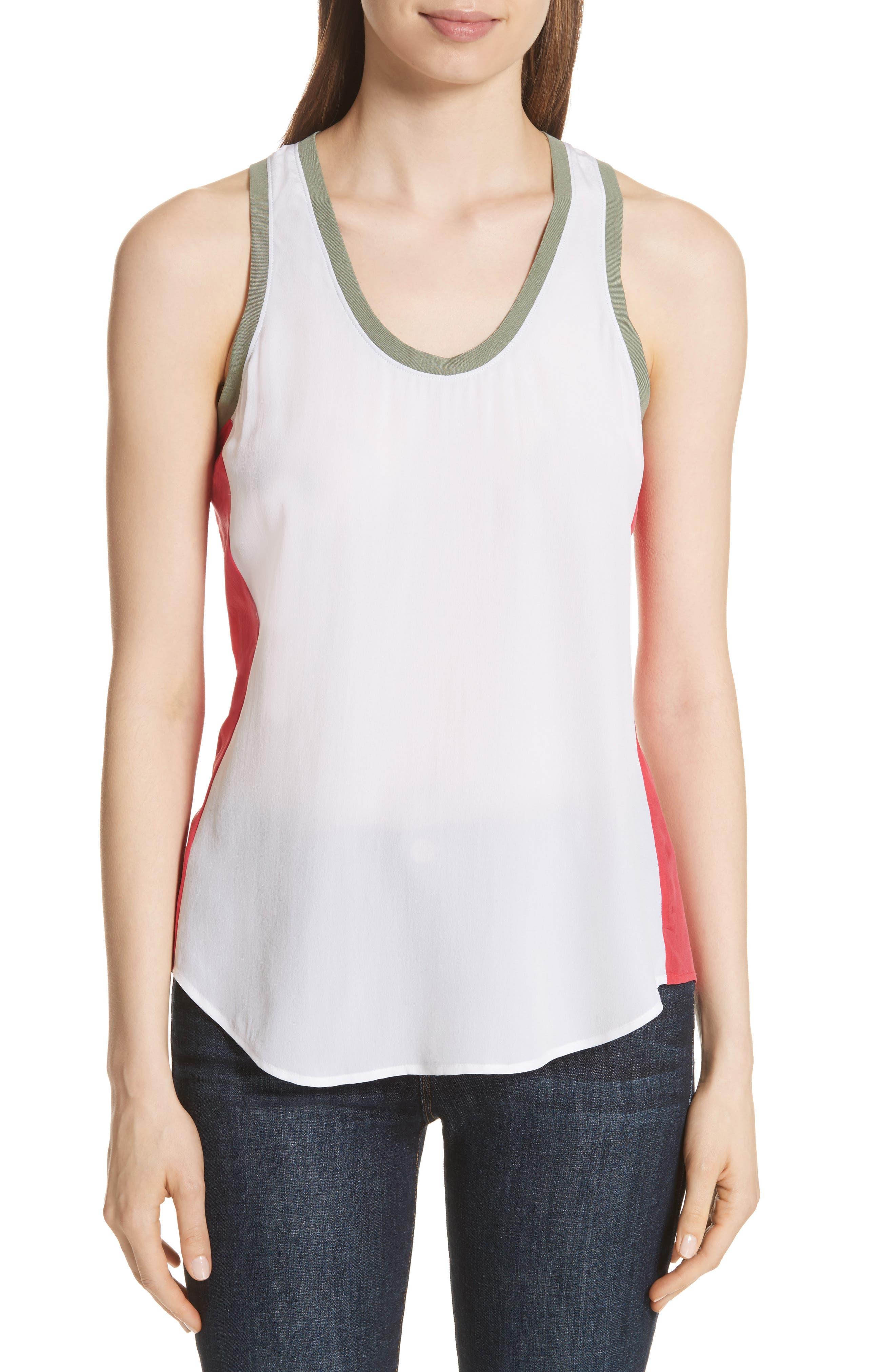 Mel Colorblock Silk Tank,                         Main,                         color, Bright White