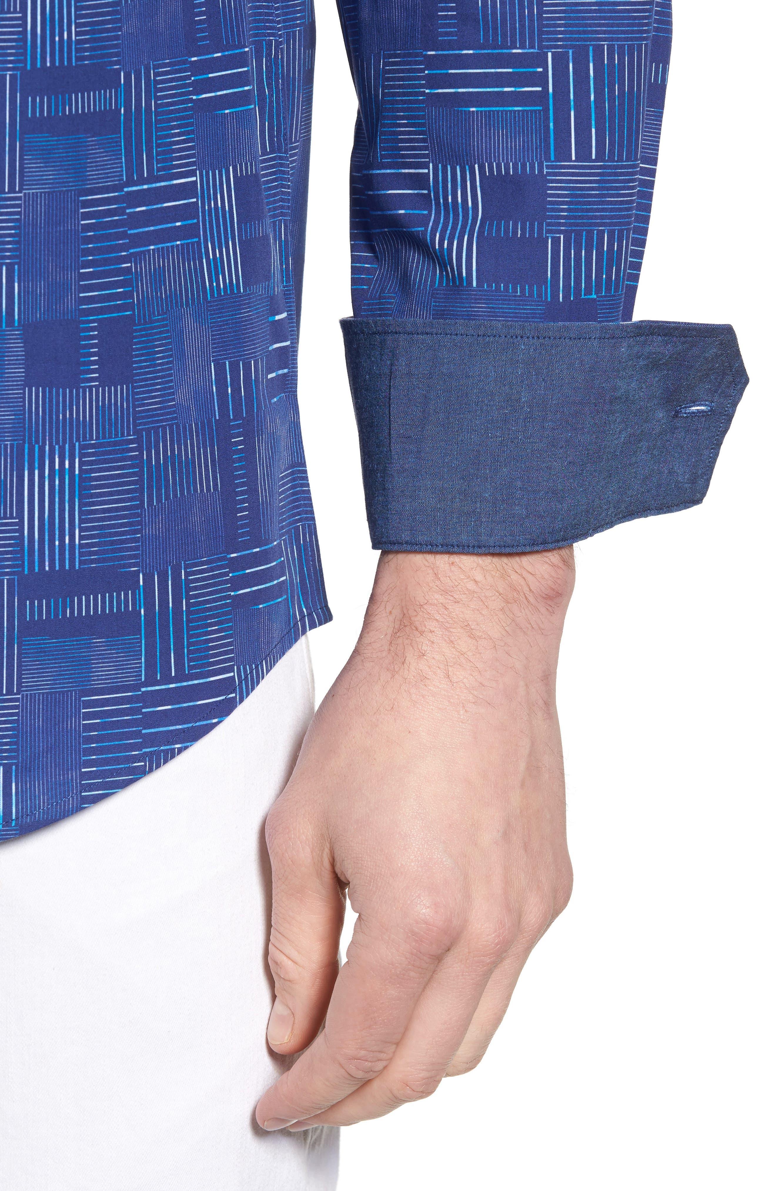 Shaped Fit Patchwork Plaid Sport Shirt,                             Alternate thumbnail 2, color,                             Classic Blue