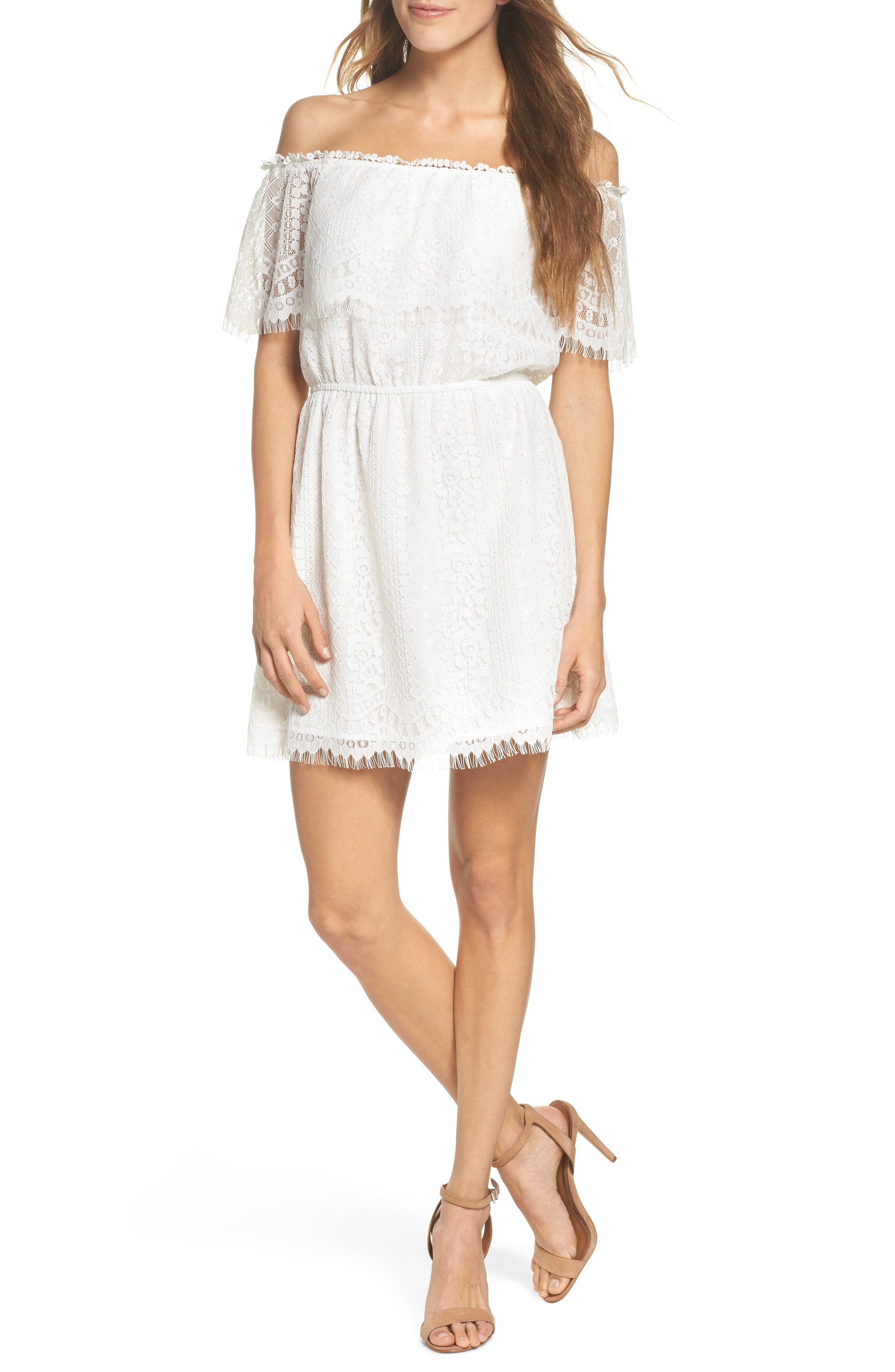 BB Dakota Zinnia Lace Ruffle Off the Shoulder Dress