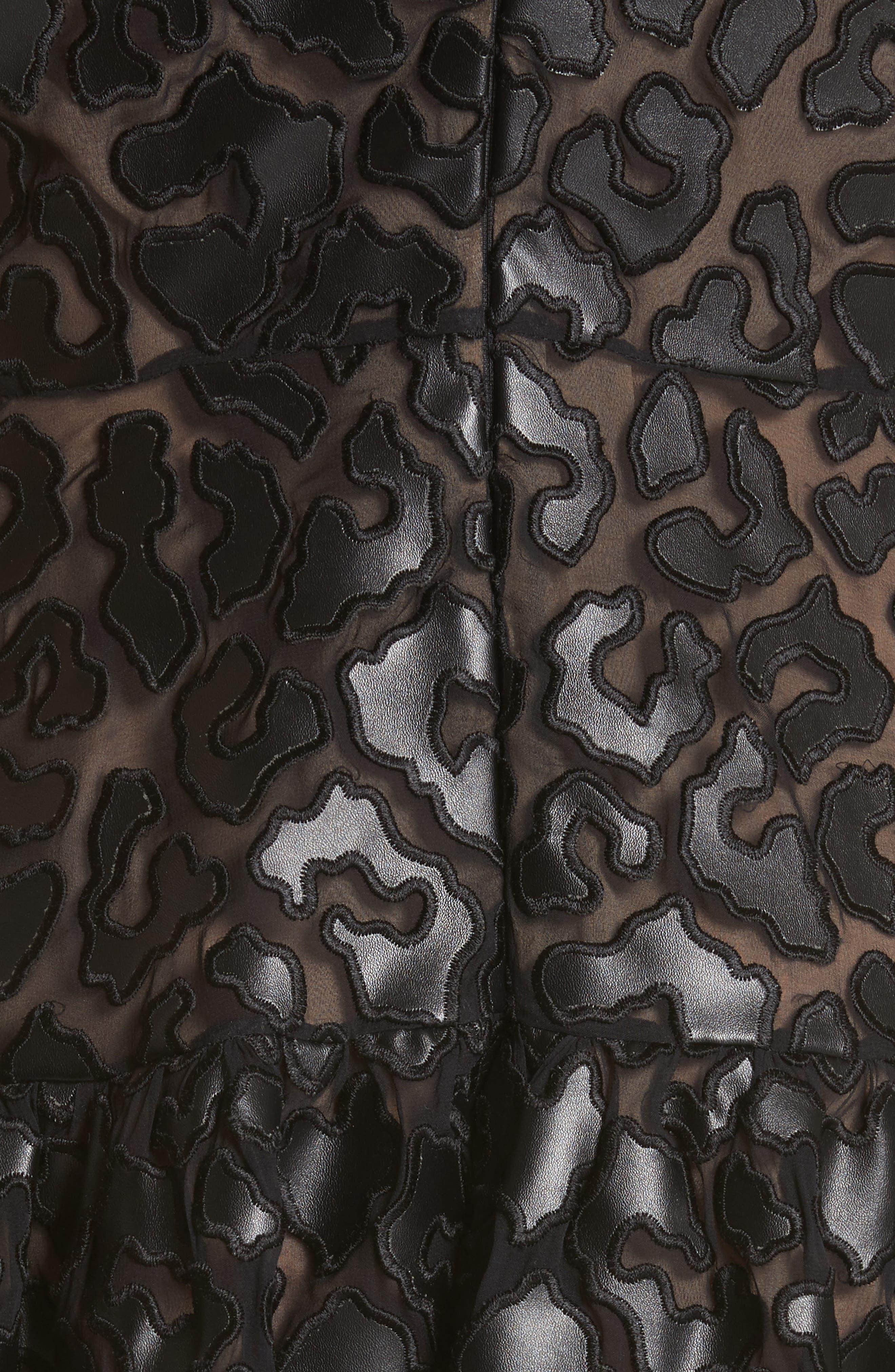 Faux Leather Leopard Print Dress,                             Alternate thumbnail 6, color,                             Black