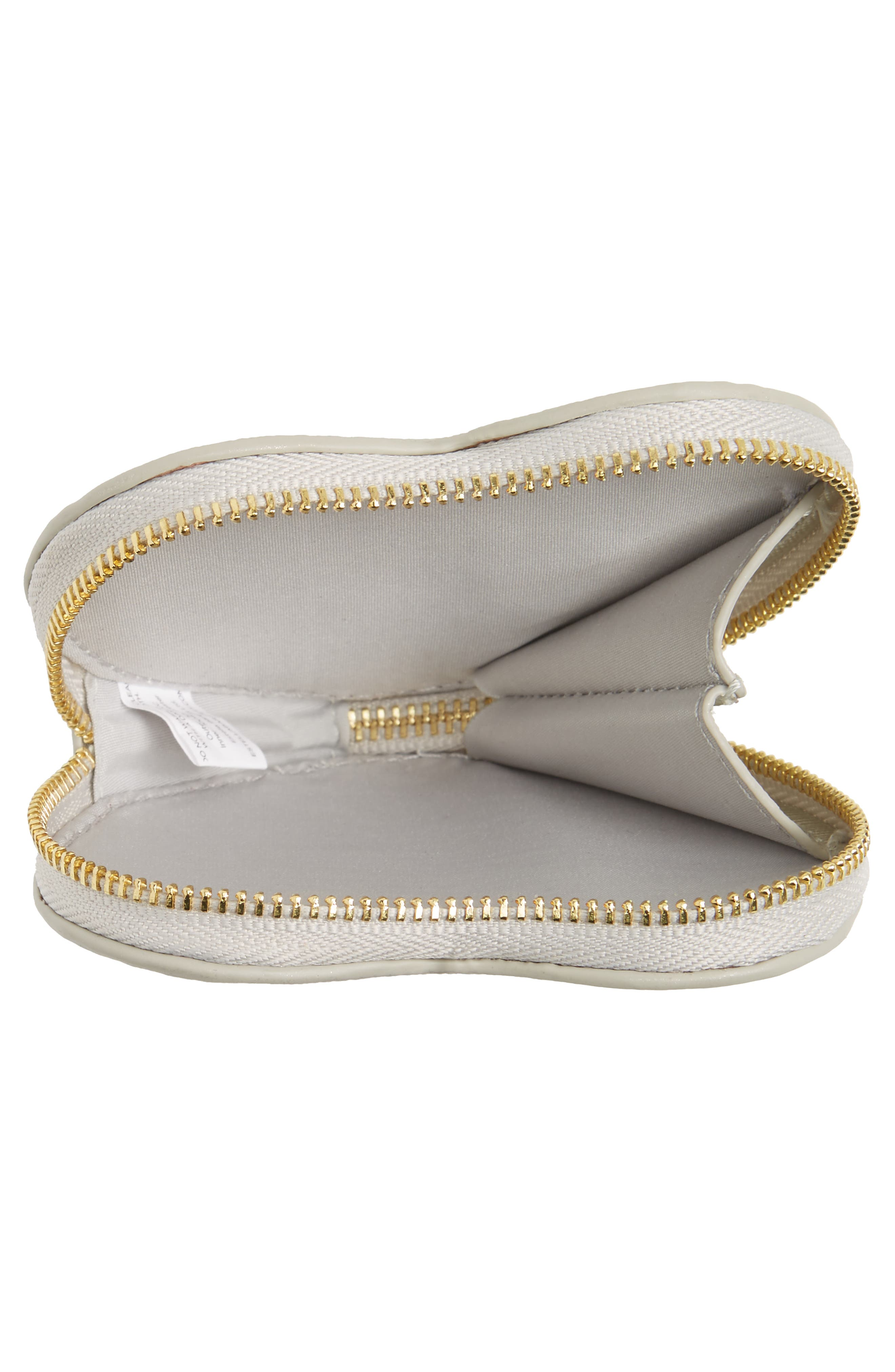 Heart Dream Faux Leather Coin Purse,                             Alternate thumbnail 4, color,                             Silver