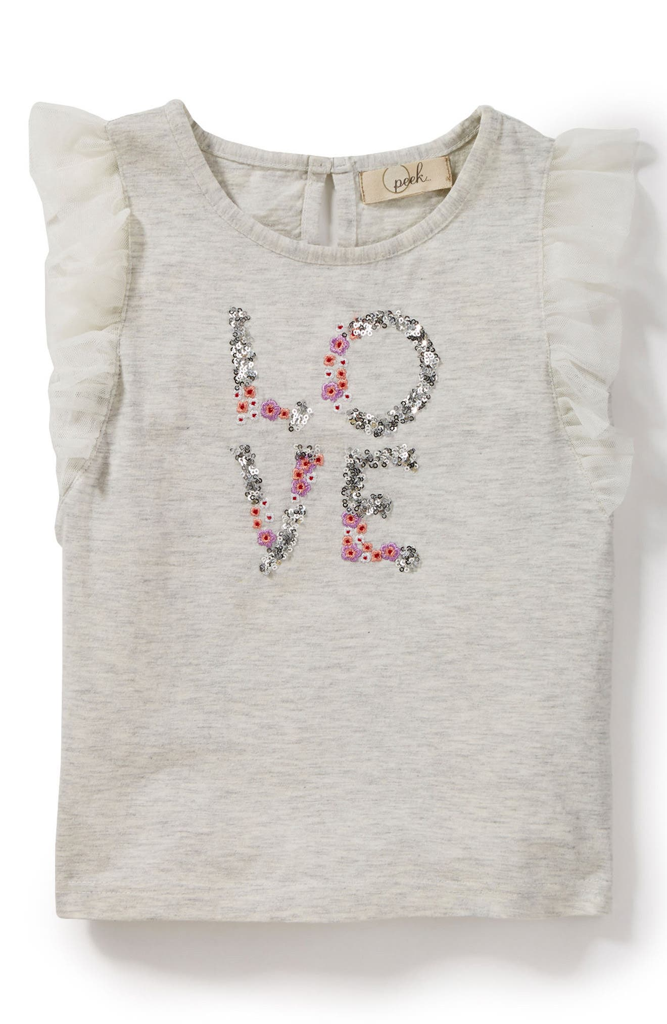 Peek Love Graphic Flutter Sleeve Tee (Toddler Girls, Little Girls & Big Girls)