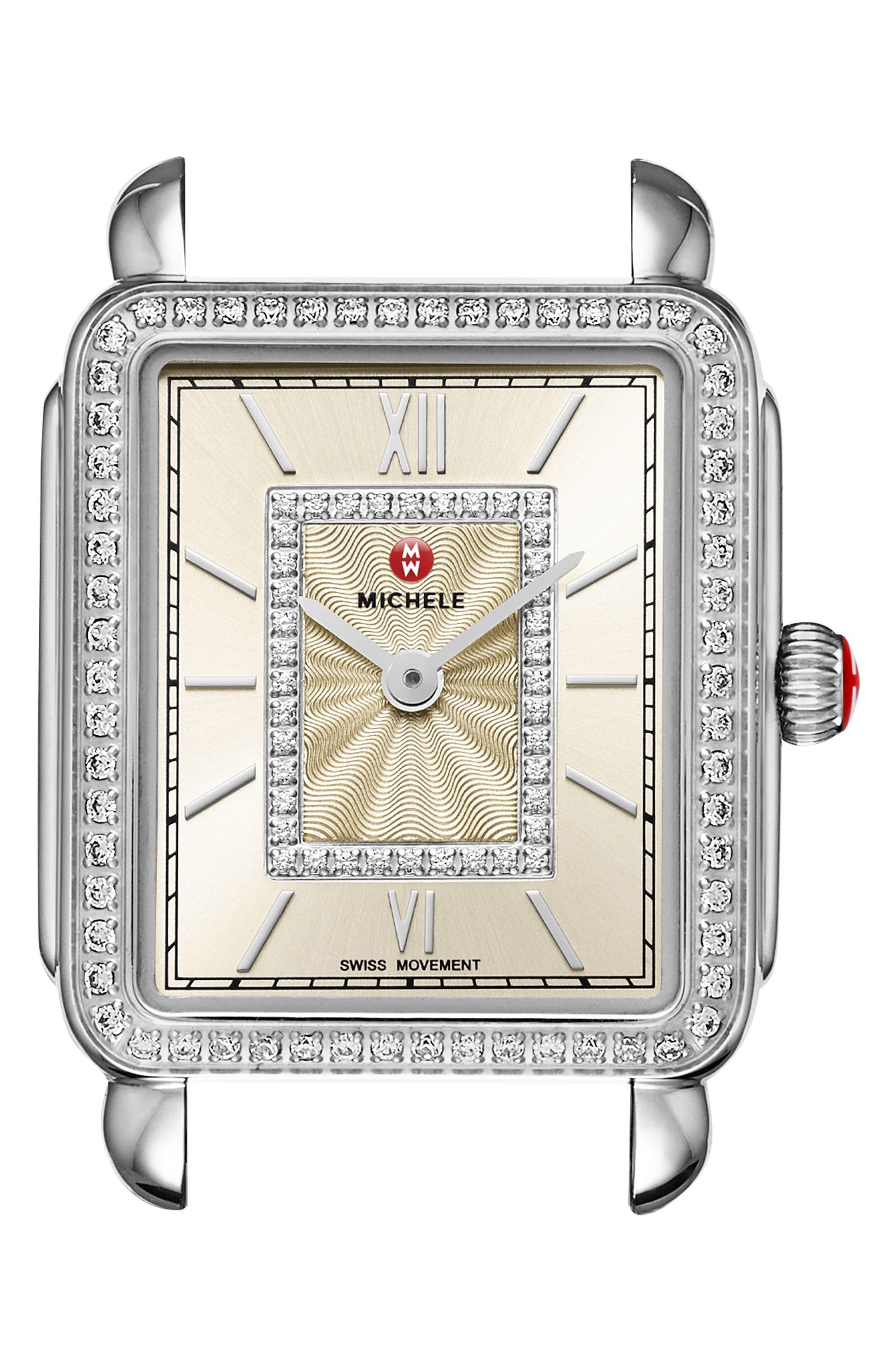 Deco II Mid Diamond Watch Head, 26mm x 27mm,                             Main thumbnail 1, color,                             Silver/ Champagne