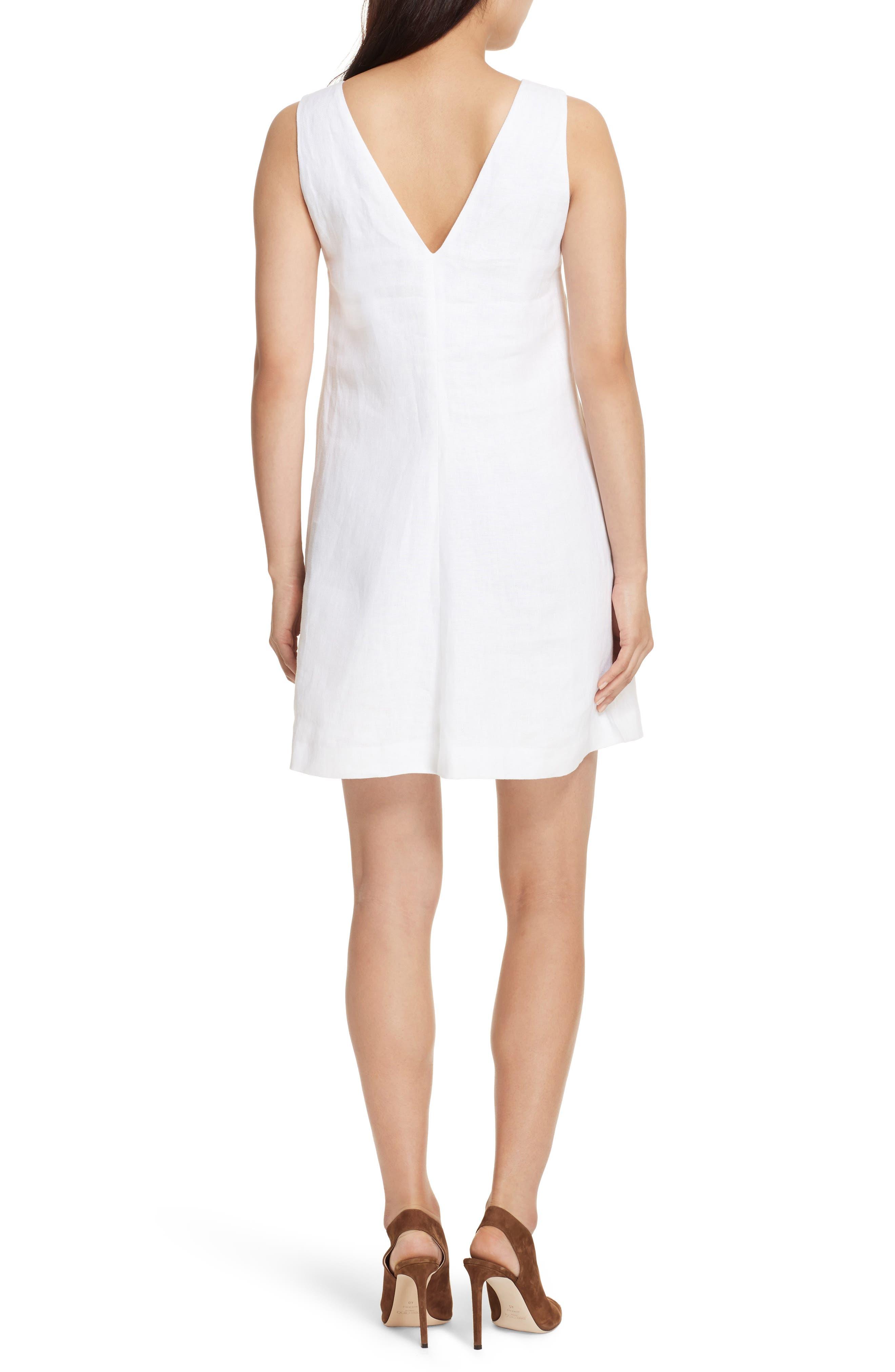 Linen Shift Dress,                             Alternate thumbnail 2, color,                             White