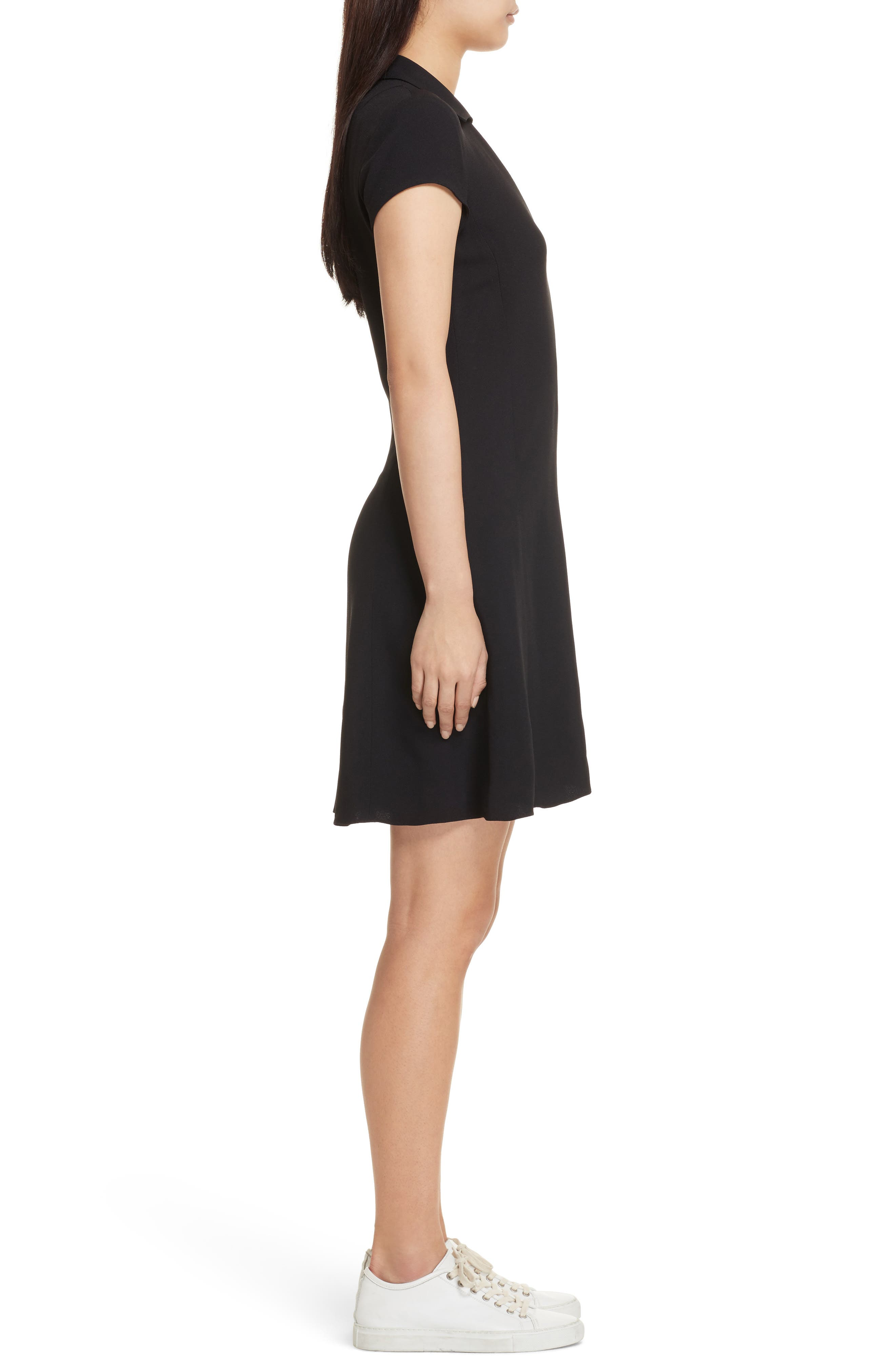 Rosina Easy Day Crepe Dress,                             Alternate thumbnail 3, color,                             Black