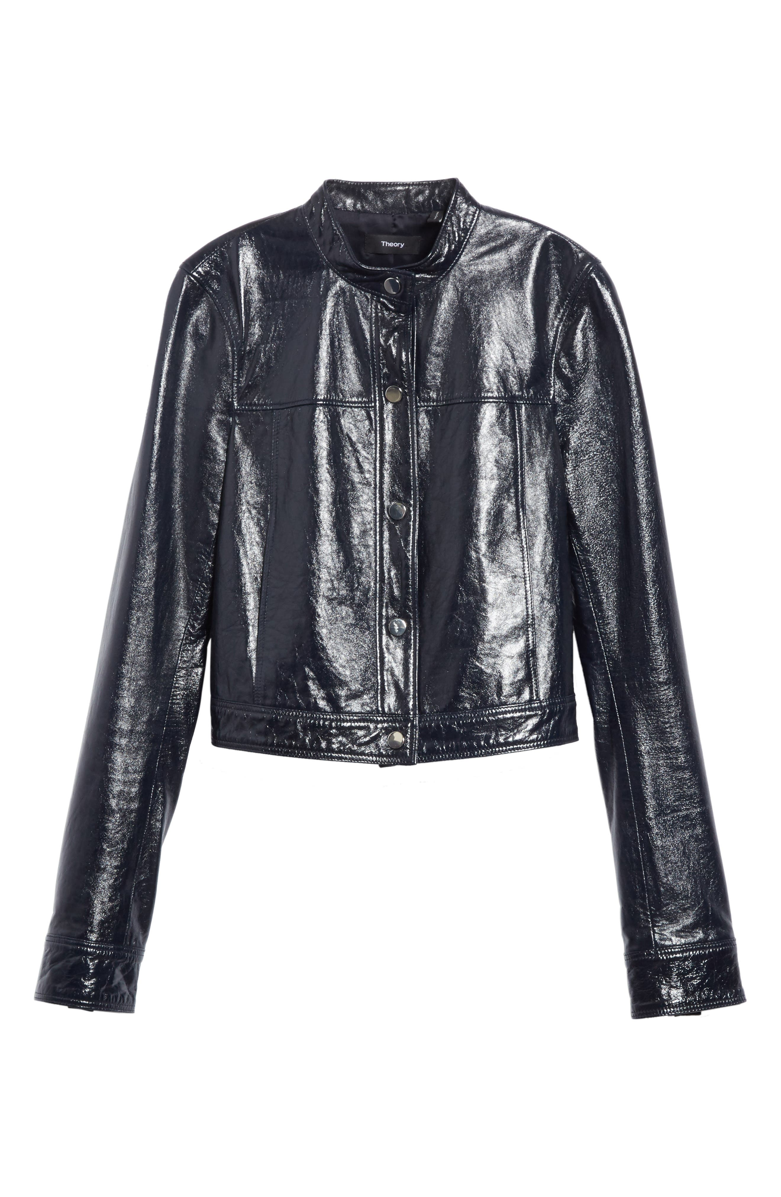 Crinkled Patent Leather Bomber Jacket,                             Alternate thumbnail 7, color,                             Abyss