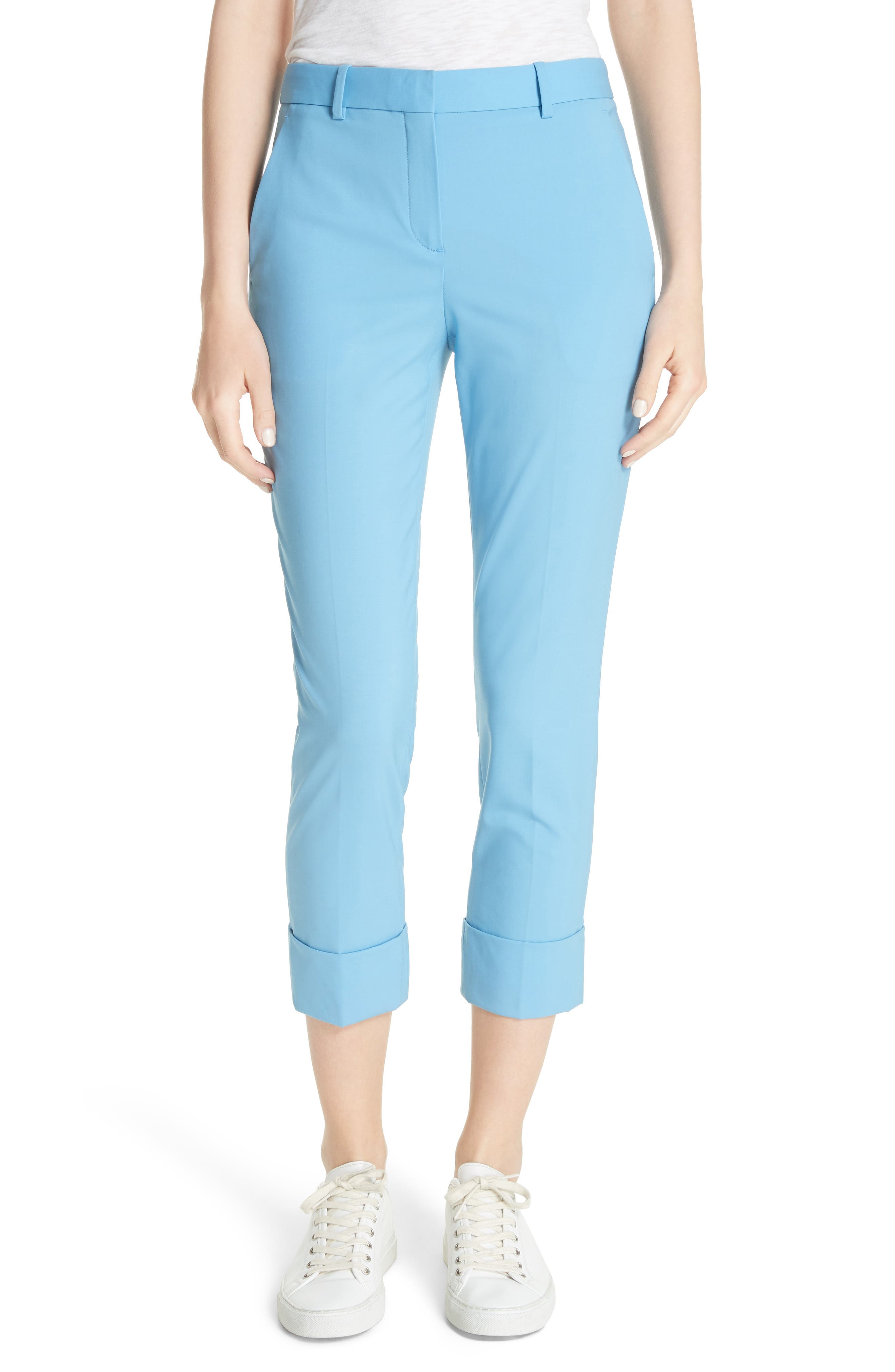 Cuffed Stretch Wool Crop Pants,                         Main,                         color, Blue Robin