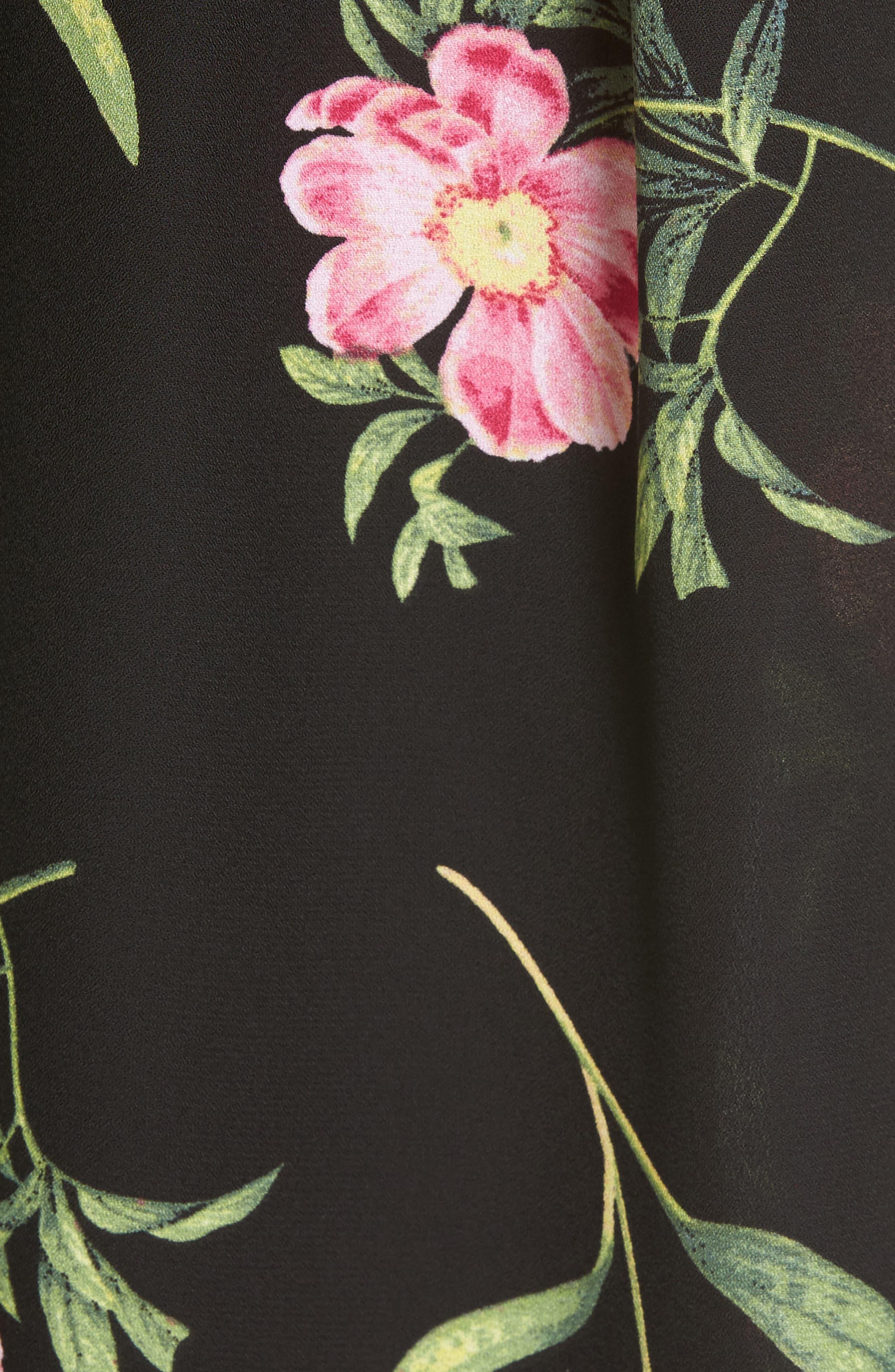 Floral Wide Leg Crop Pants,                             Alternate thumbnail 5, color,                             Black Floral