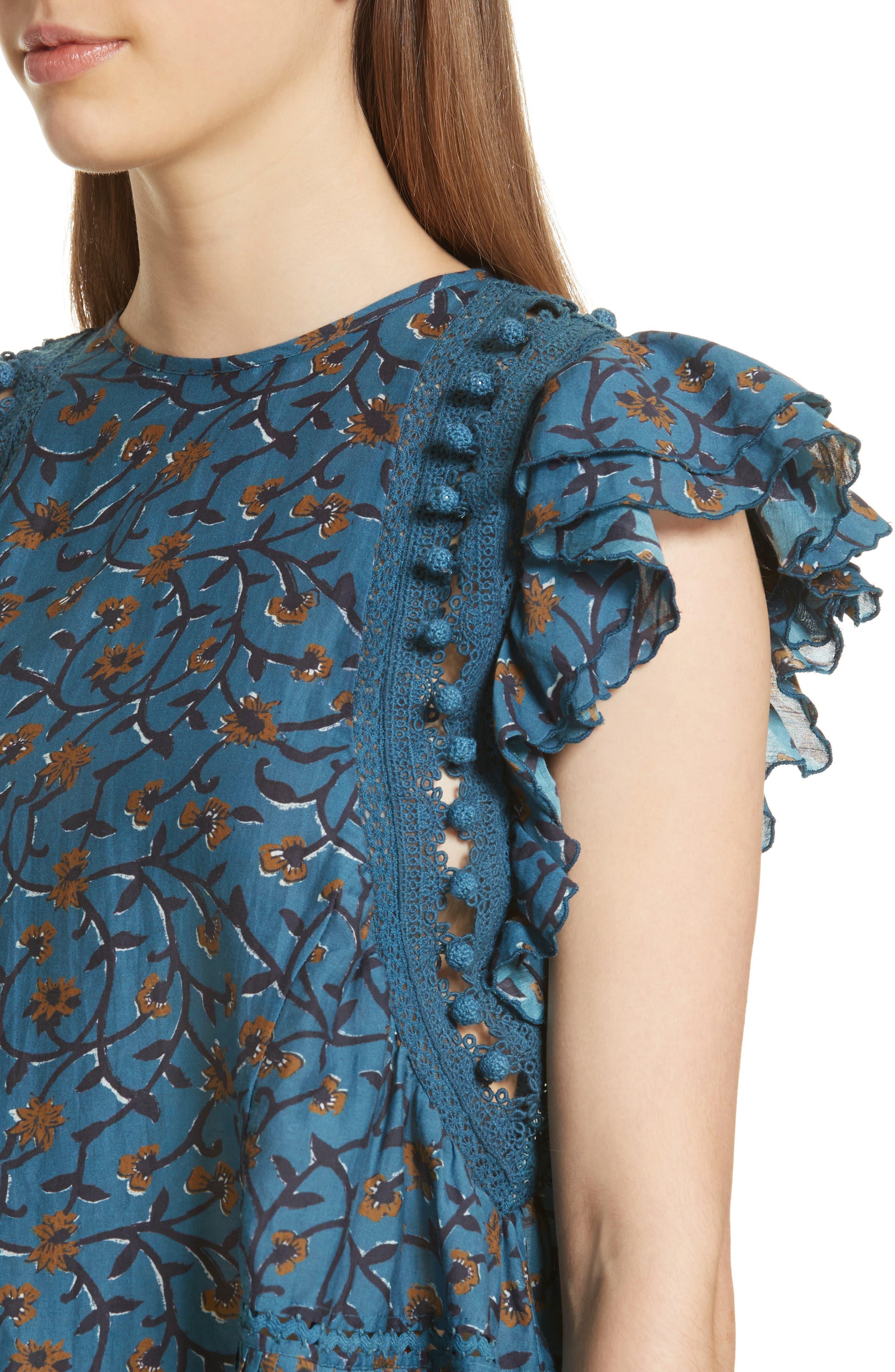 Khloe Pompom Trim Top,                             Alternate thumbnail 4, color,                             Steel Blue
