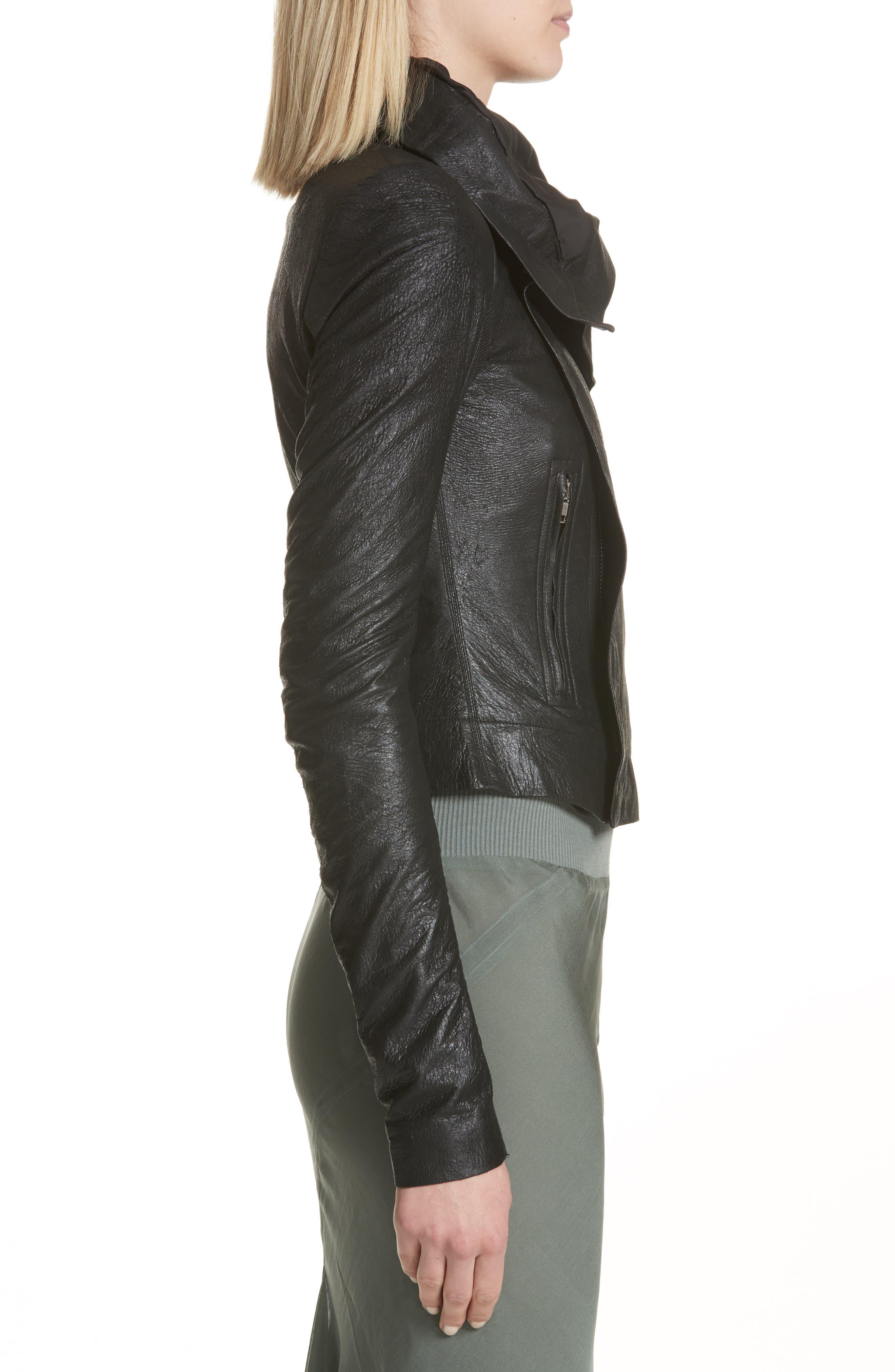 Classic Leather Biker Jacket,                             Alternate thumbnail 3, color,                             Black