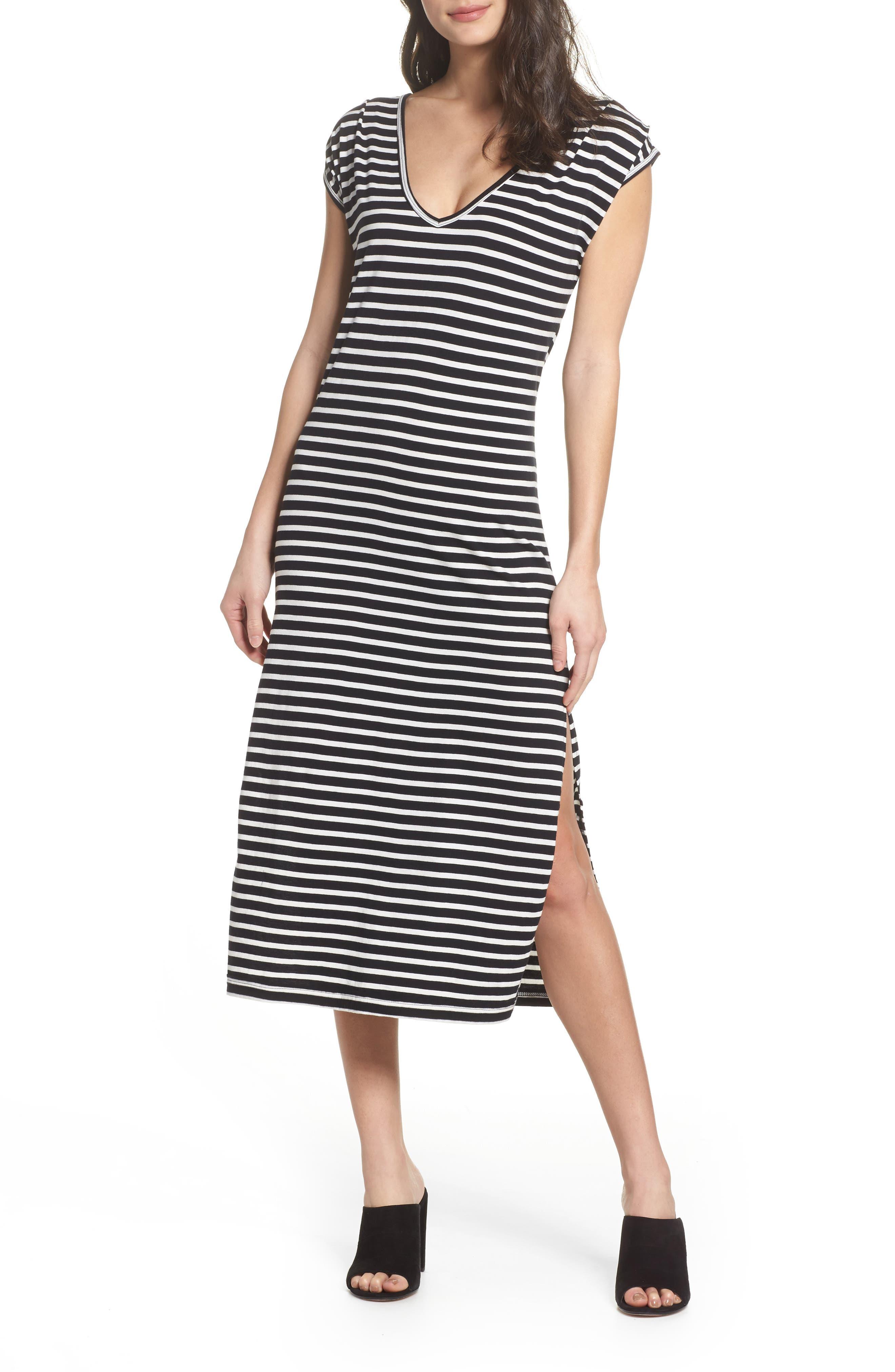 Solana Stripe Knit Midi Dress,                             Main thumbnail 1, color,                             Black White Stripe