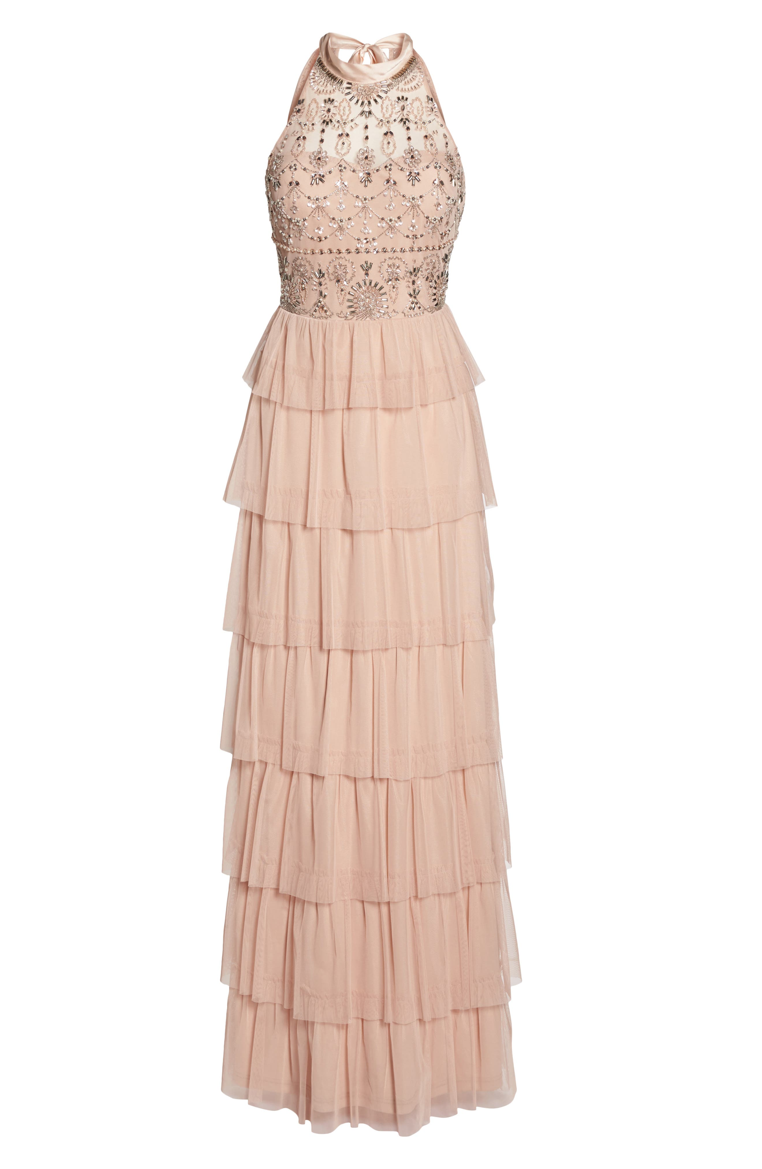 Embellished Tiered Maxi Dress,                             Alternate thumbnail 6, color,                             Blush