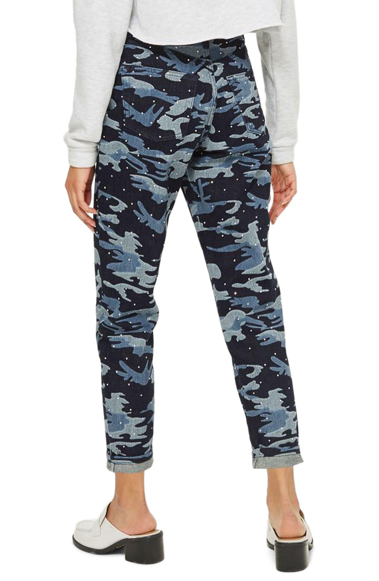 Camo Diamante Mom Jeans,                             Alternate thumbnail 2, color,                             Indigo Multi