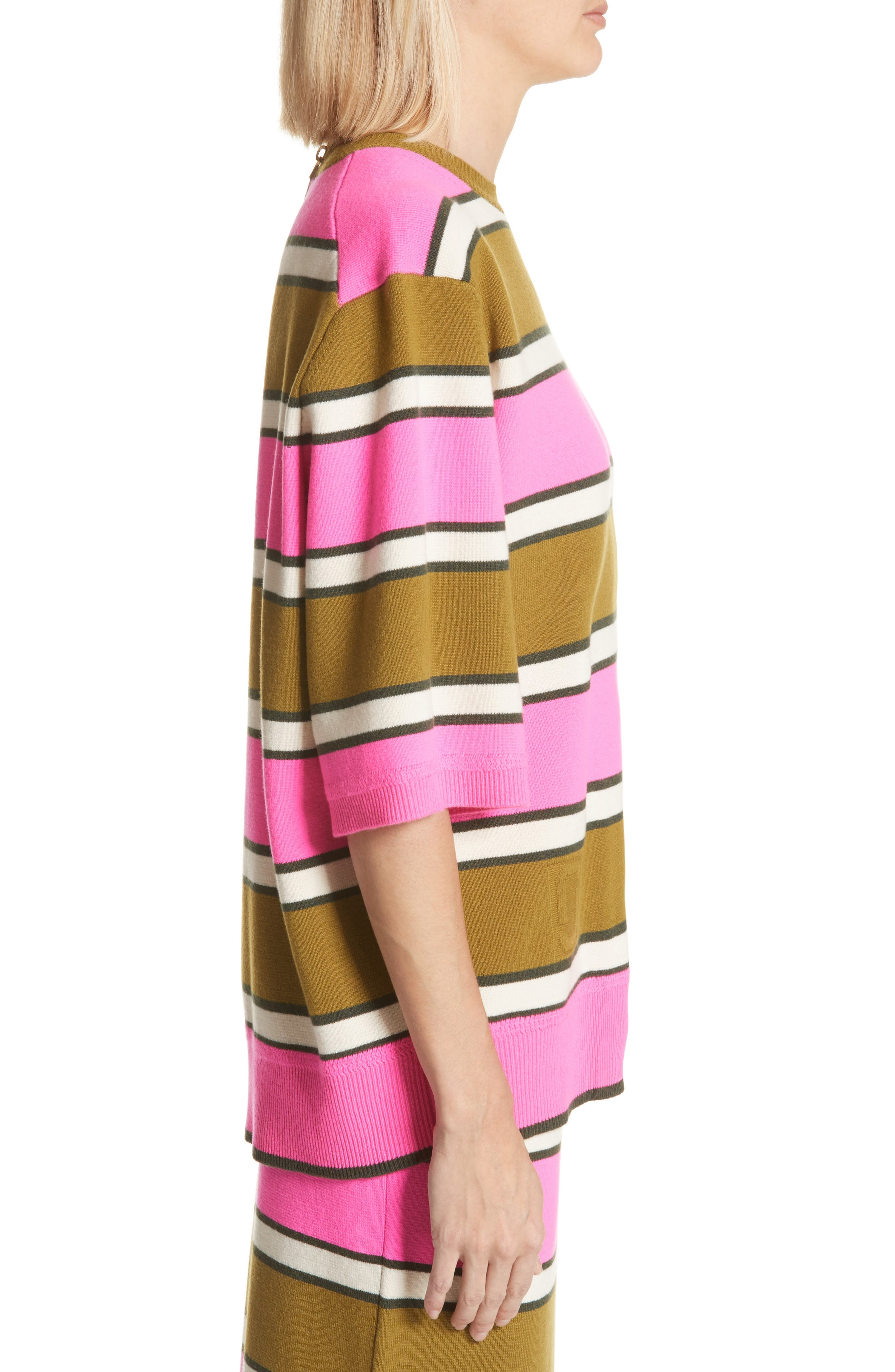 Oversize Stripe Cashmere Sweater,                             Alternate thumbnail 3, color,                             Pink Multi