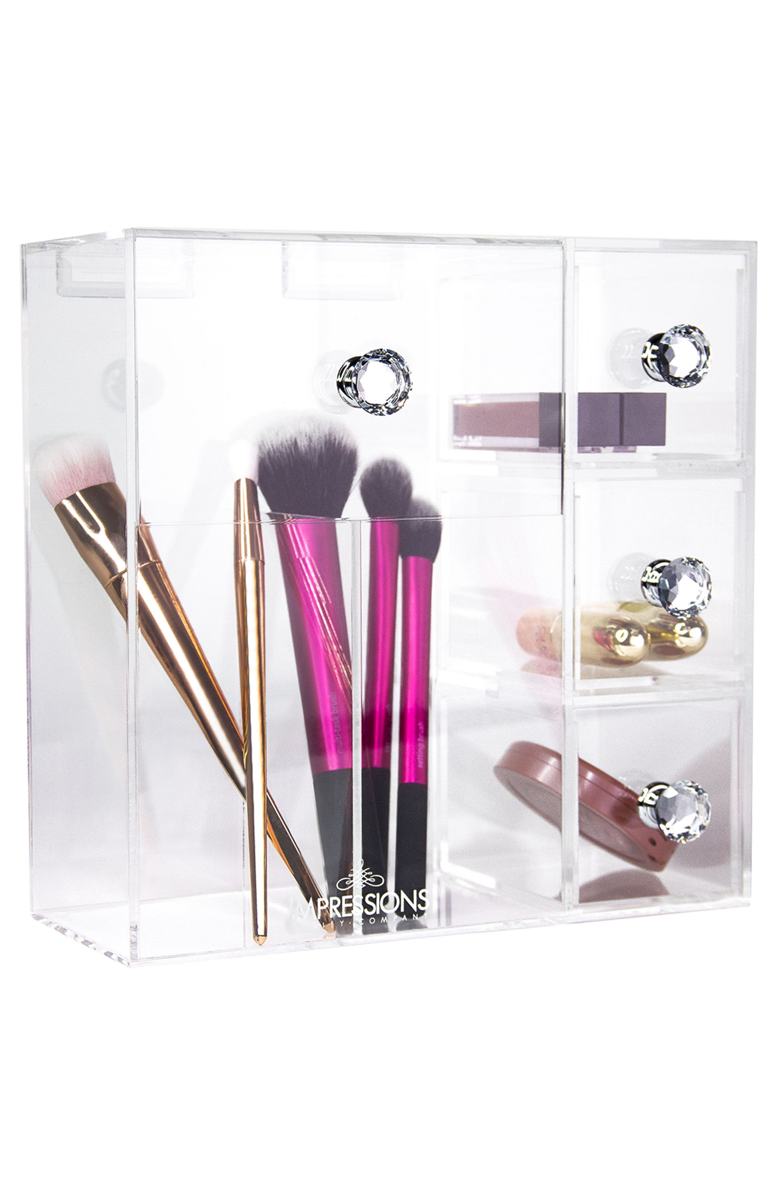 Diamond Collection Brush Holder with Drawers,                             Alternate thumbnail 2, color,                             Clear