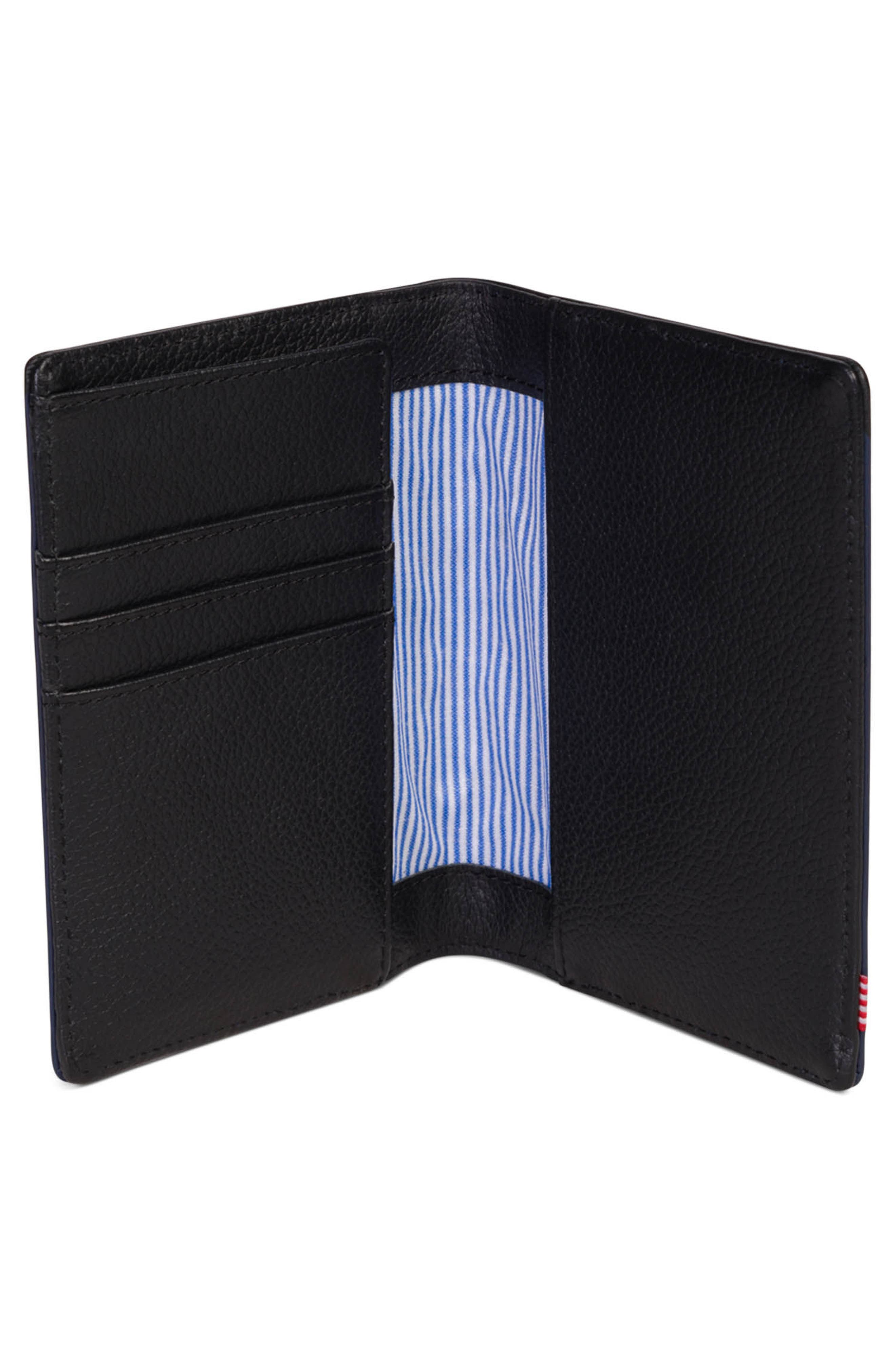 Raynor Offset Leather Wallet,                             Alternate thumbnail 2, color,                             Black