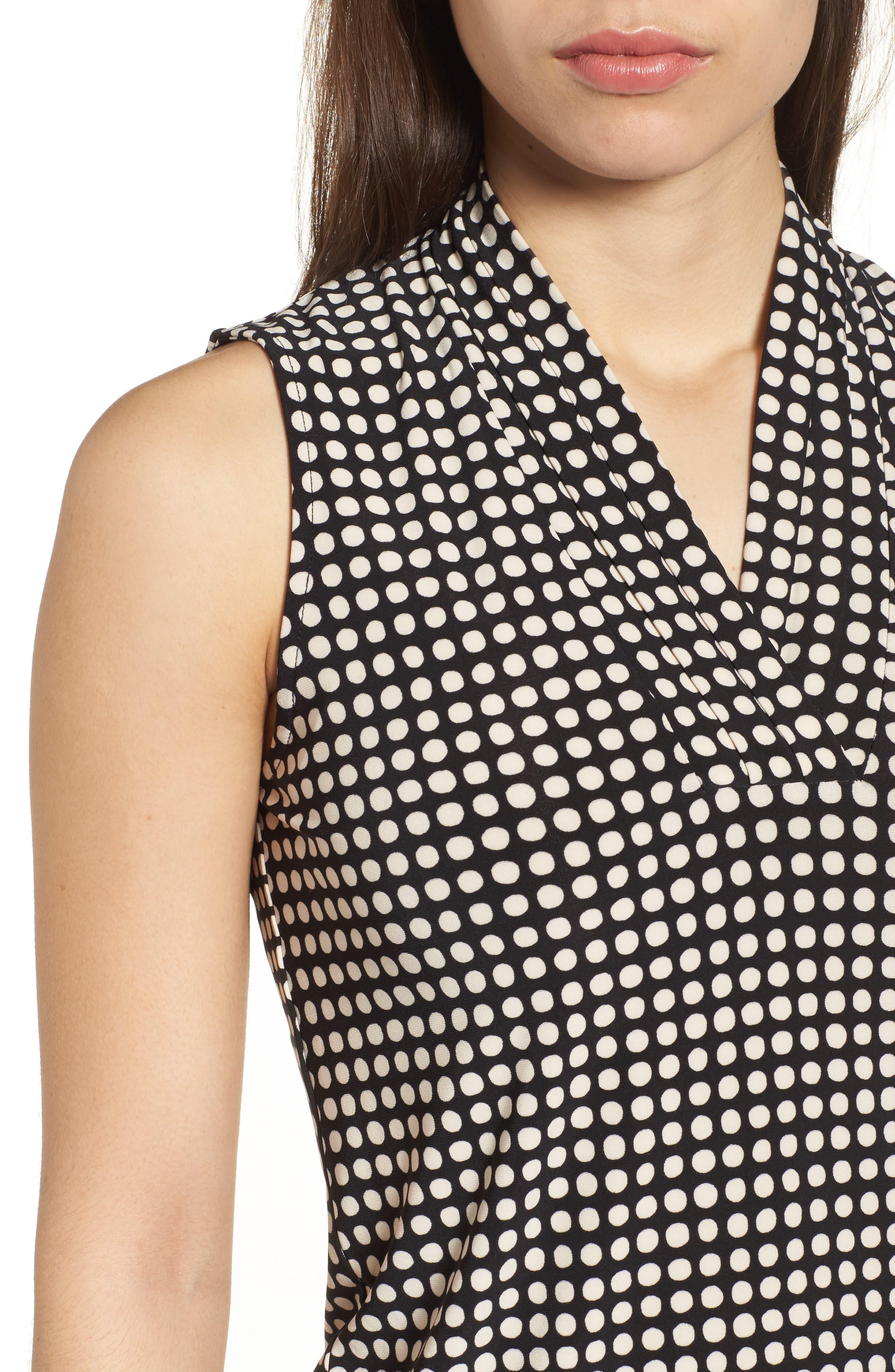 Pleat Neck Dot Matte Jersey Top,                             Alternate thumbnail 4, color,                             Black/ Parchment