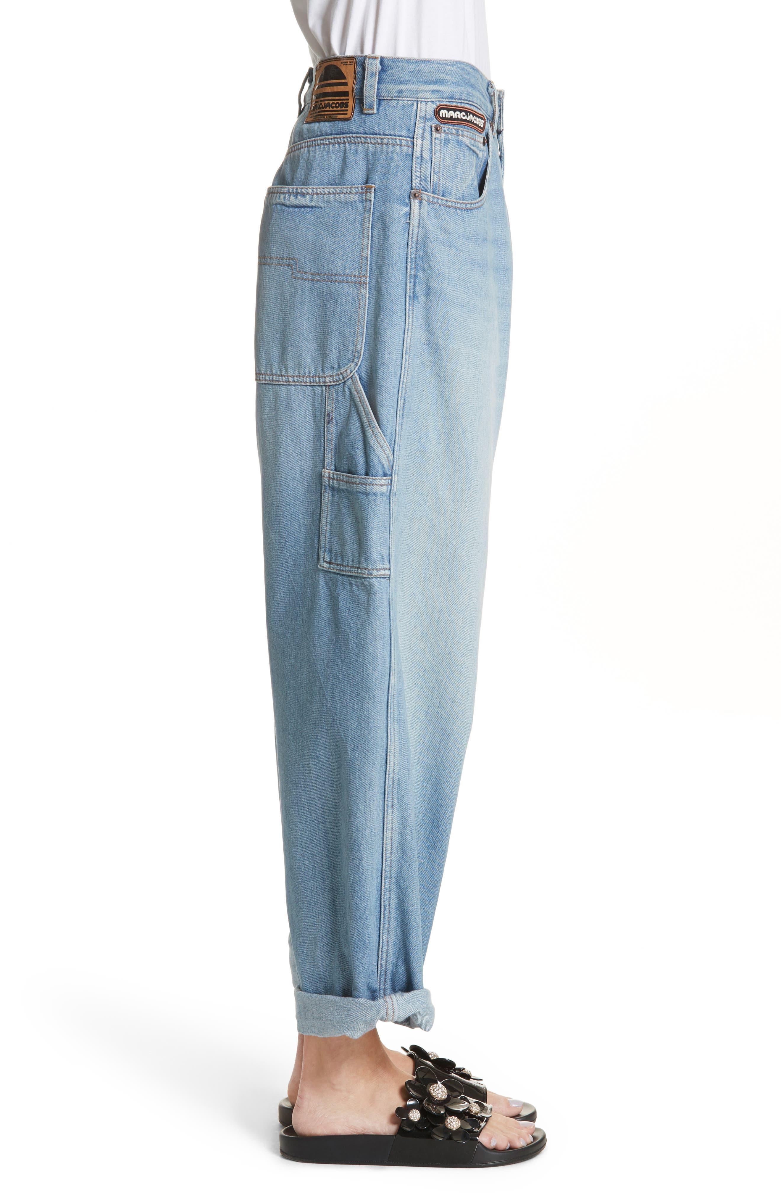 Wide Leg Carpenter Jeans,                             Alternate thumbnail 5, color,                             Vintage Indigo