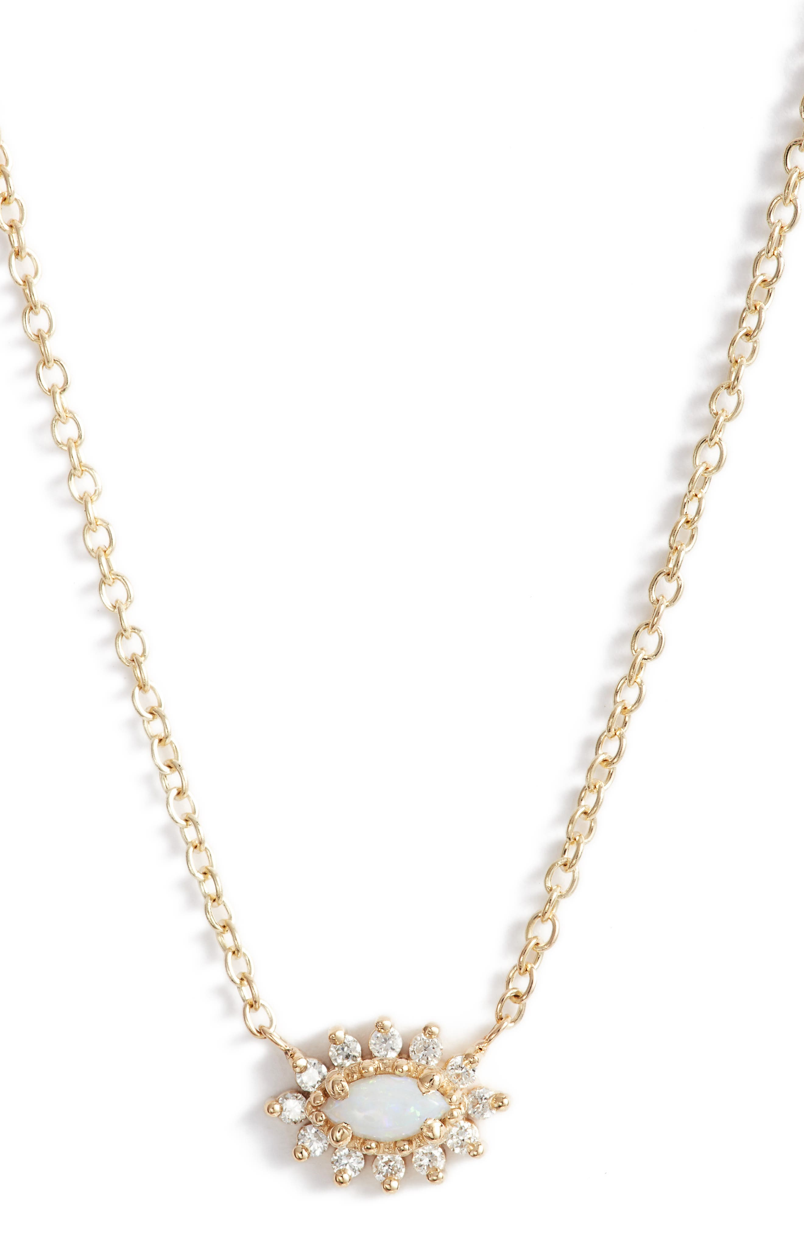 Diamond & Opal Cluster Pendant Necklace,                         Main,                         color, Yellow Gold/ Opal