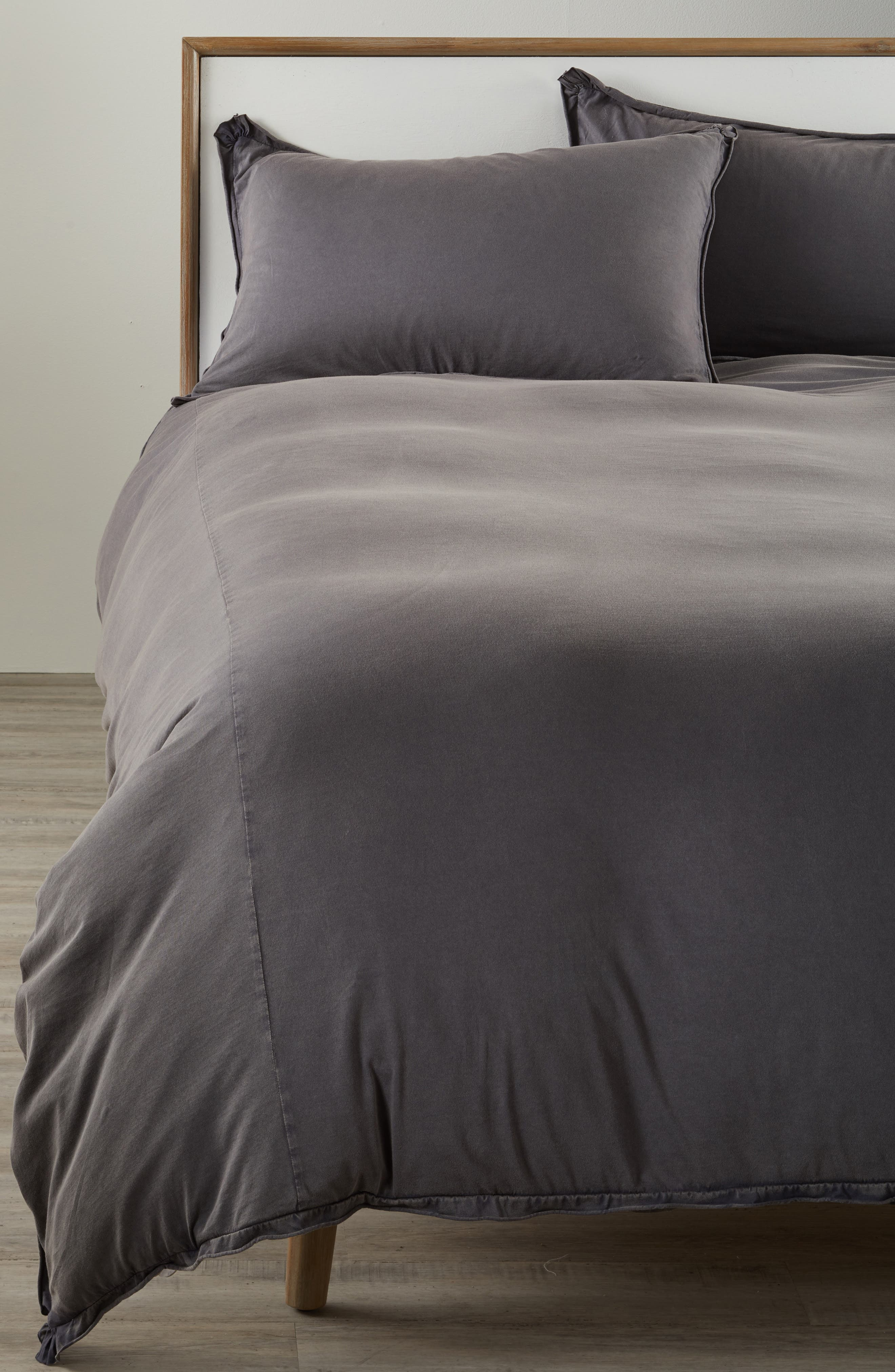 Stonewash Jersey Duvet Cover,                             Alternate thumbnail 2, color,                             Grey Onyx