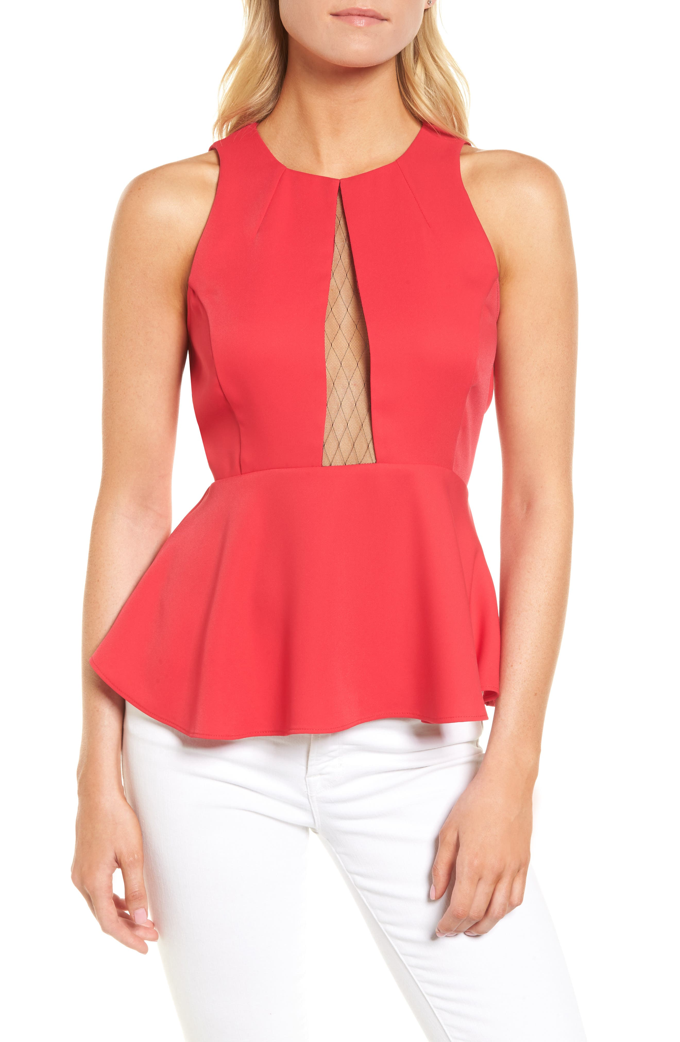Date Peplum Top,                             Main thumbnail 1, color,                             Red Barberry