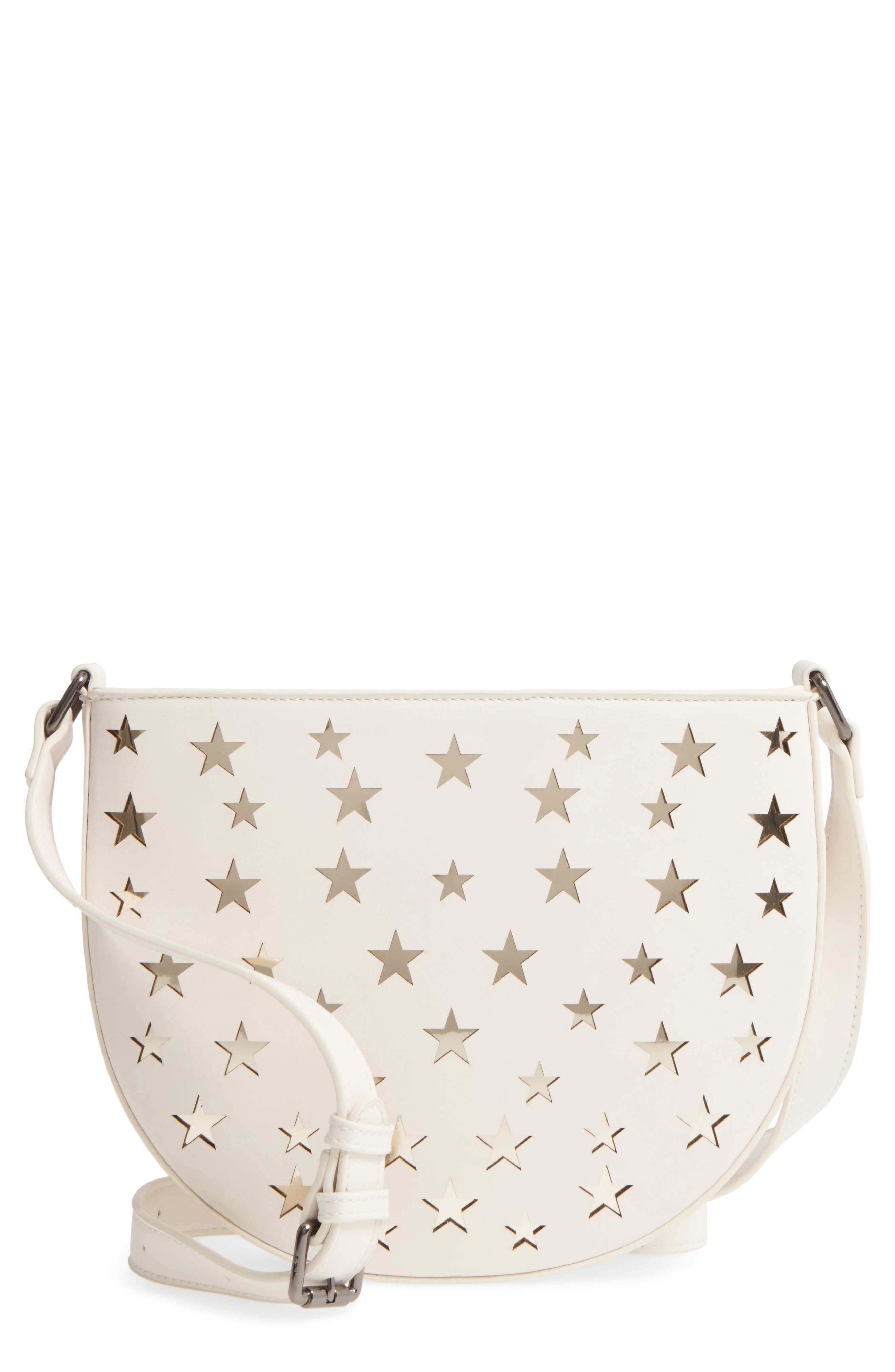 Half Moon Faux Leather Crossbody Bag,                             Main thumbnail 1, color,                             White W/ Gold Stars