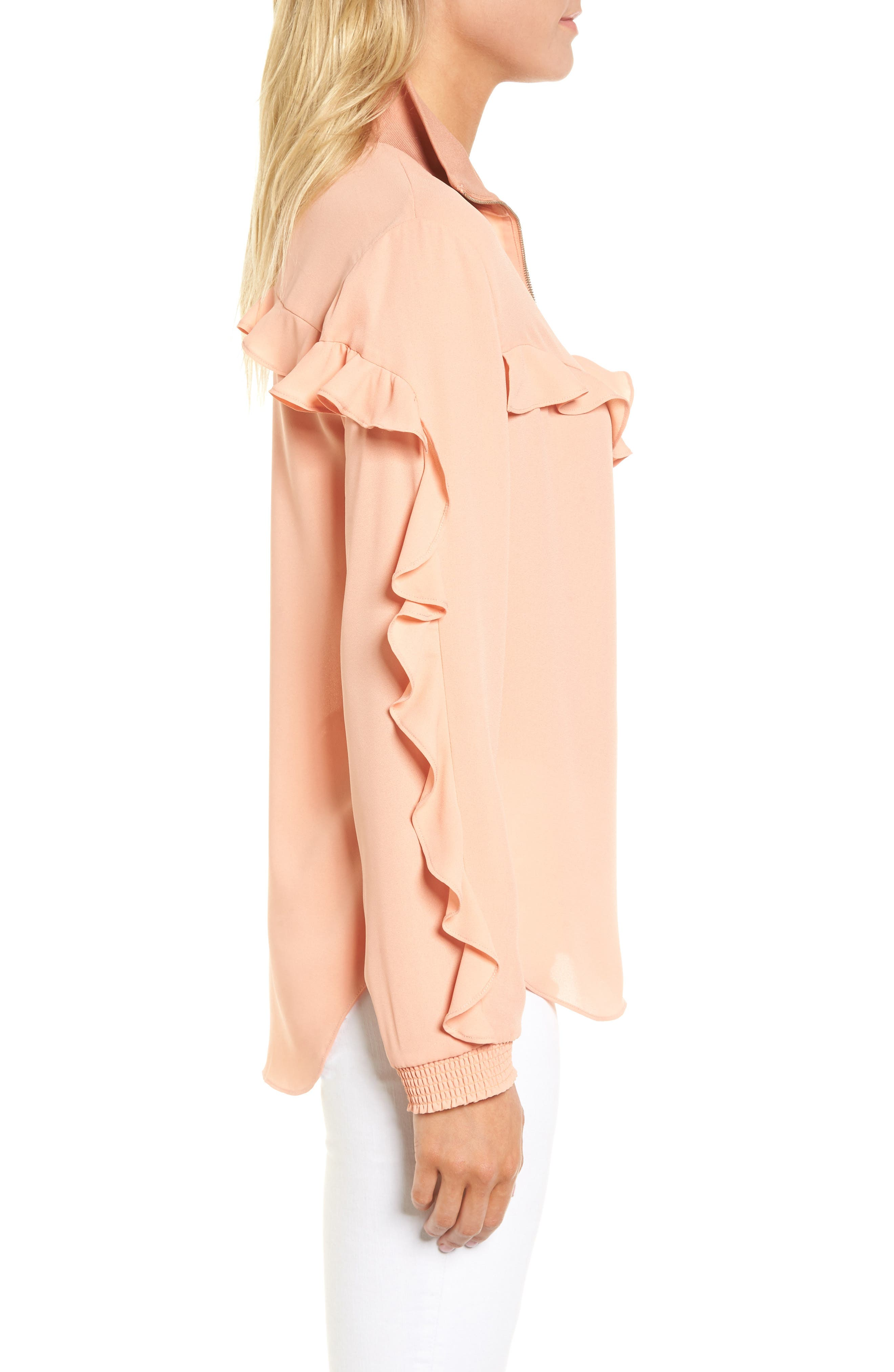 Ruffle Track Top,                             Alternate thumbnail 3, color,                             Coral Muted