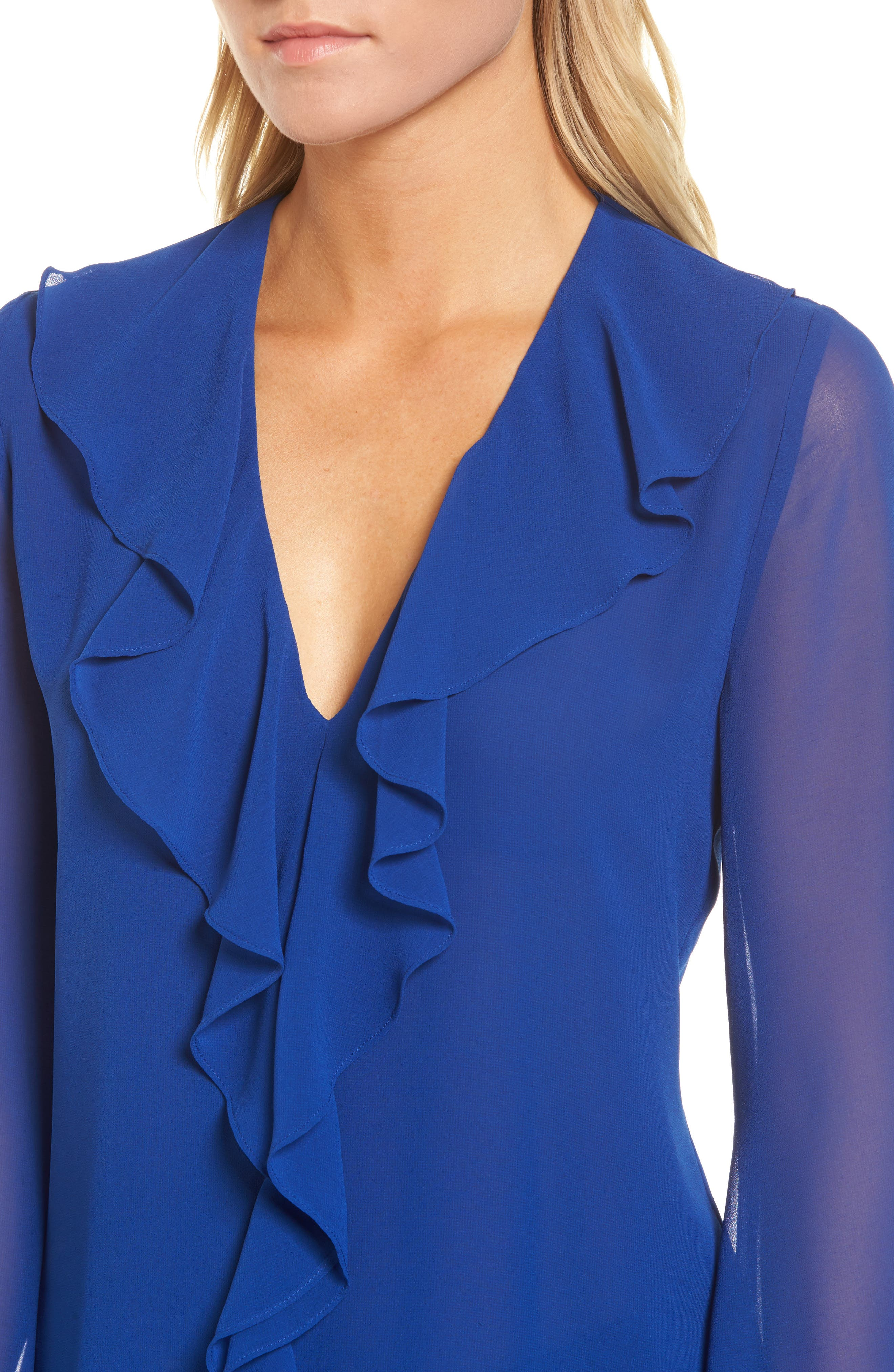 Ruffle V-Neck Blouse,                             Alternate thumbnail 4, color,                             Blue Mazarine