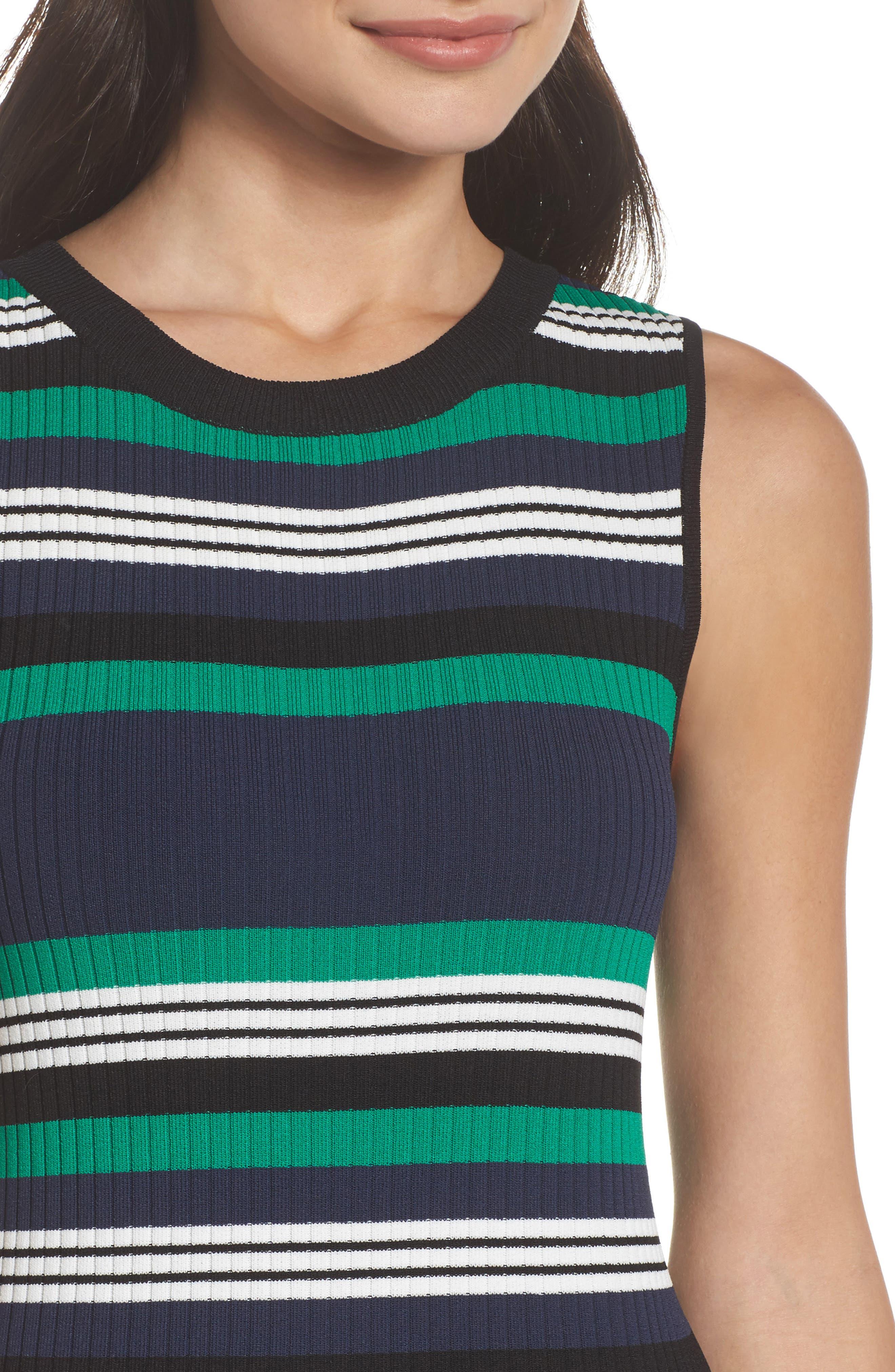 Callie Stripe Body-Con Dress,                             Alternate thumbnail 4, color,                             Navy
