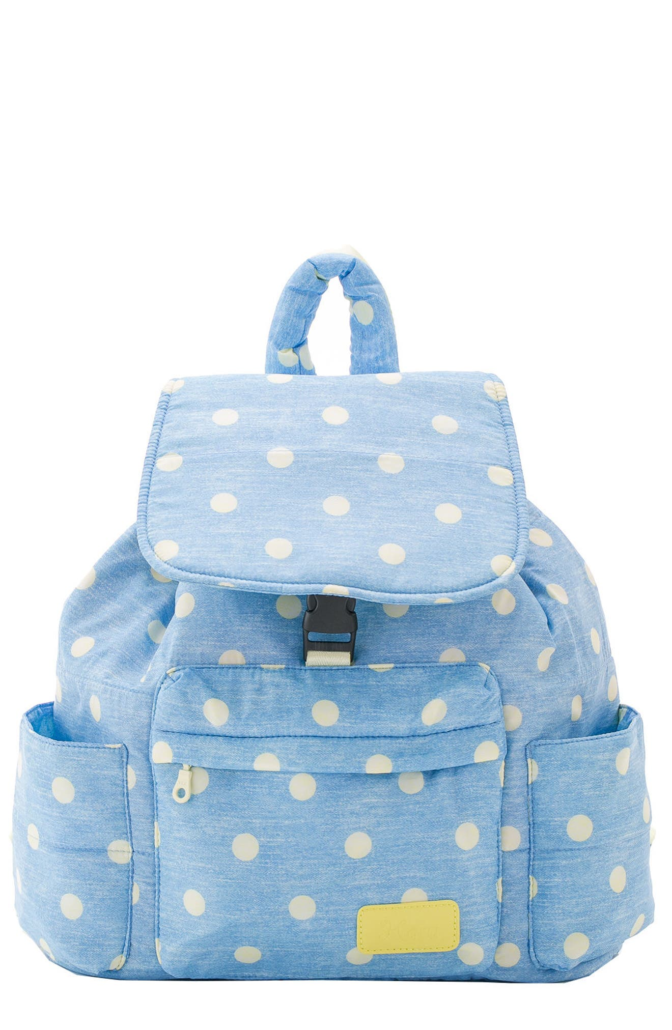 Print Water Repellent Diaper Backpack,                             Main thumbnail 1, color,                             Denim Yellow Dot