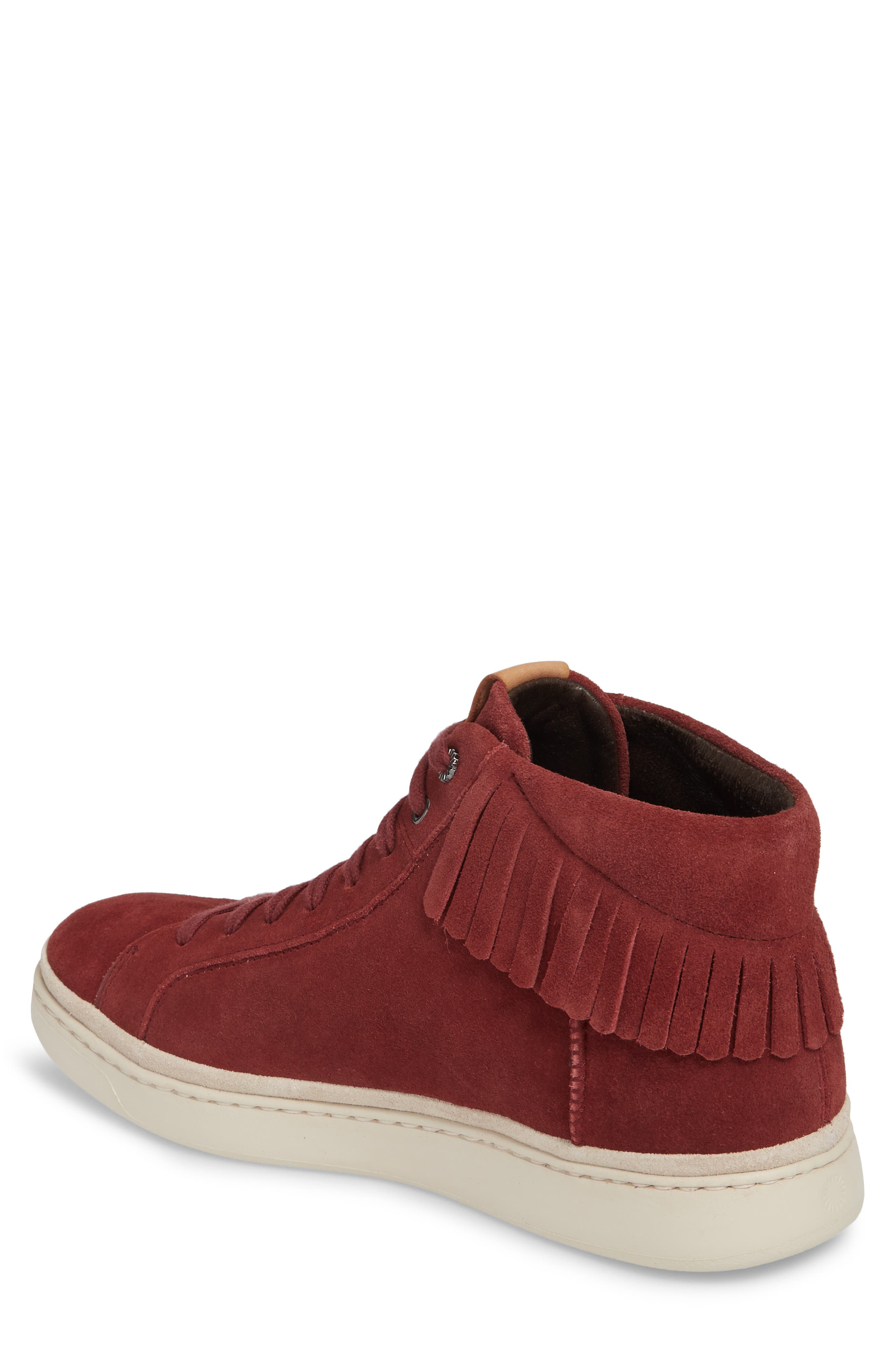 Brecken Fringe High-Top Sneaker,                             Alternate thumbnail 2, color,                             Pinot Noir Leather